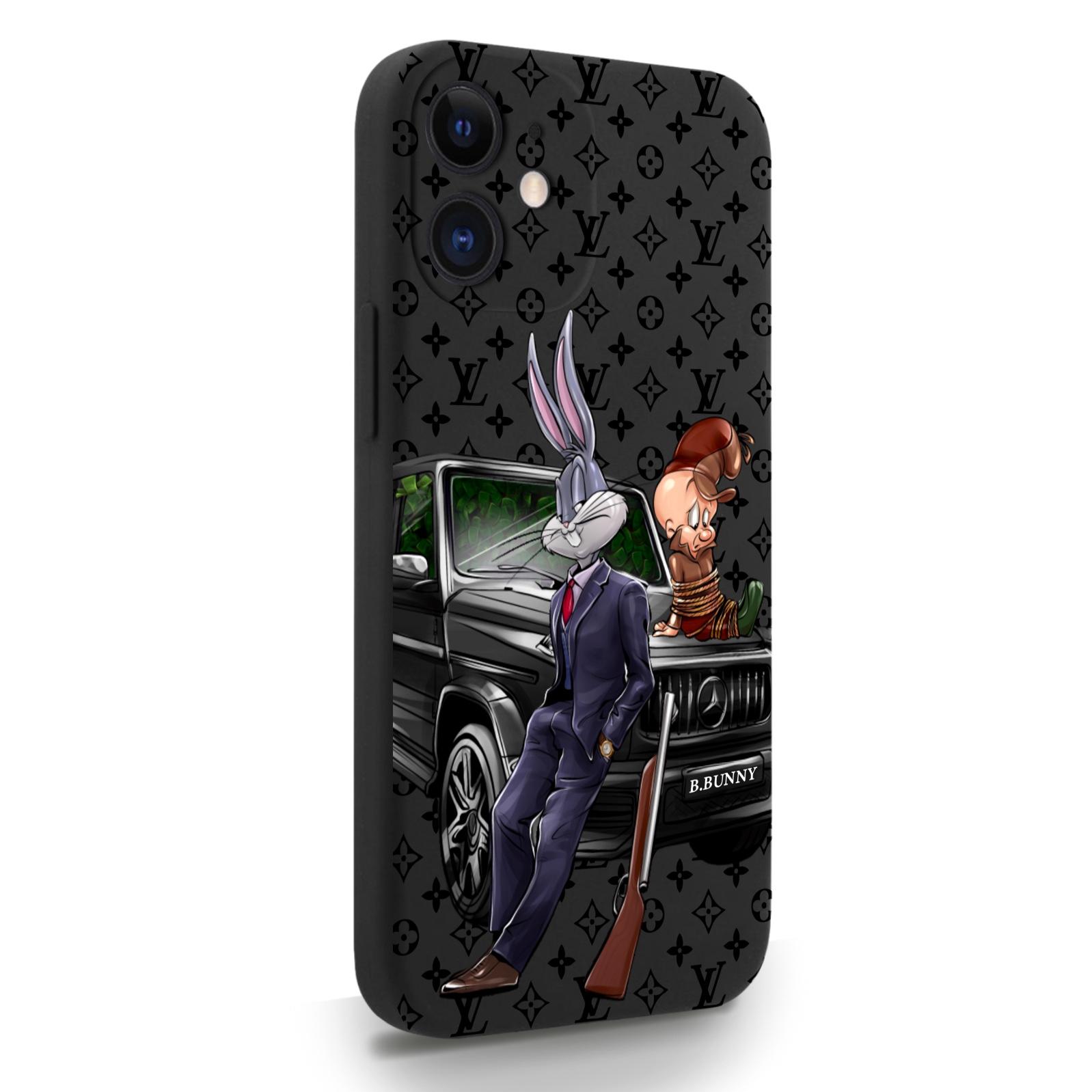 Черный силиконовый чехол для iPhone 12 Mini Мистер Богатый Заяц Бизнес/ Mr. Rich Bunny Business для Айфон 12 Мини