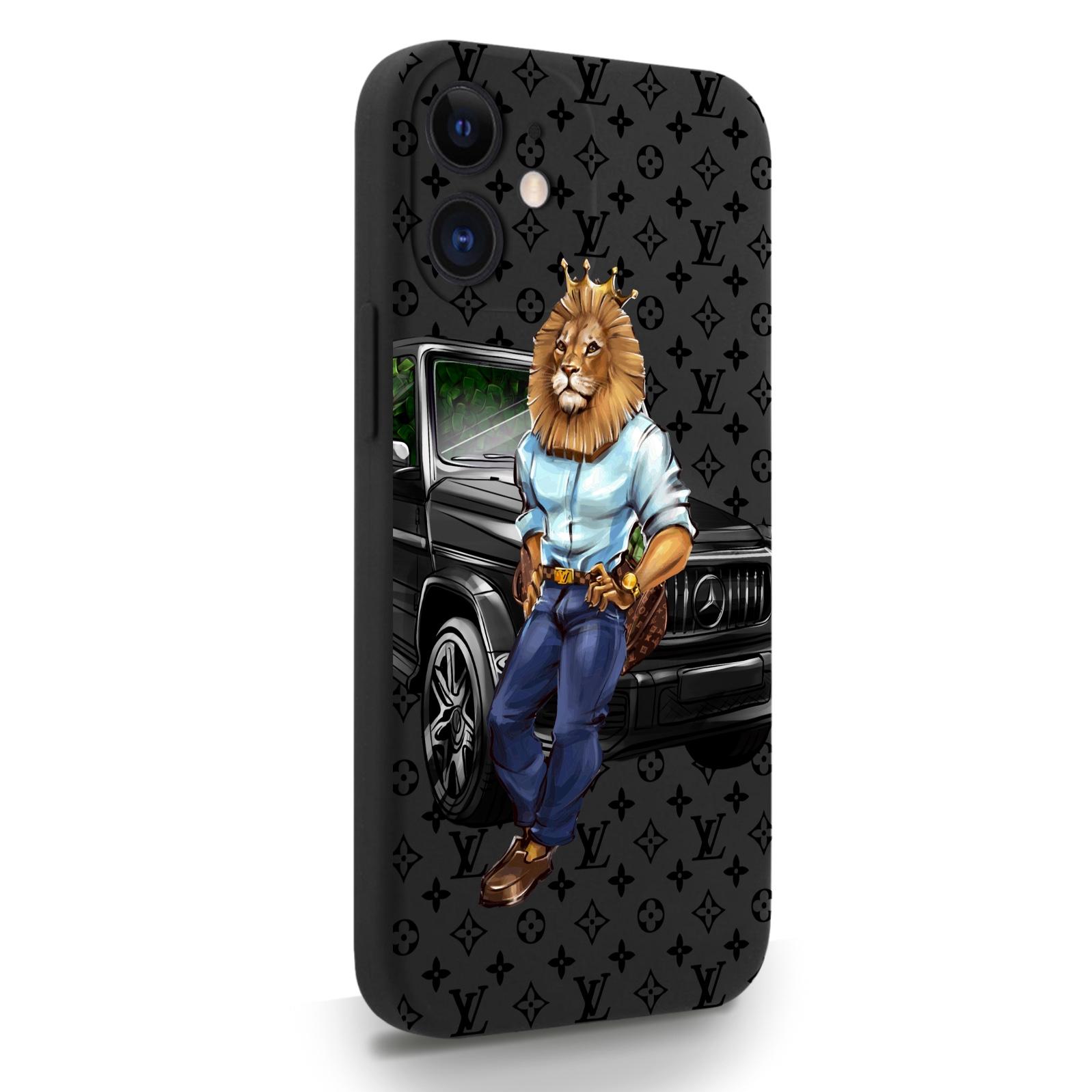 Черный силиконовый чехол для iPhone 12 Mini Lion Business для Айфон 12 Мини