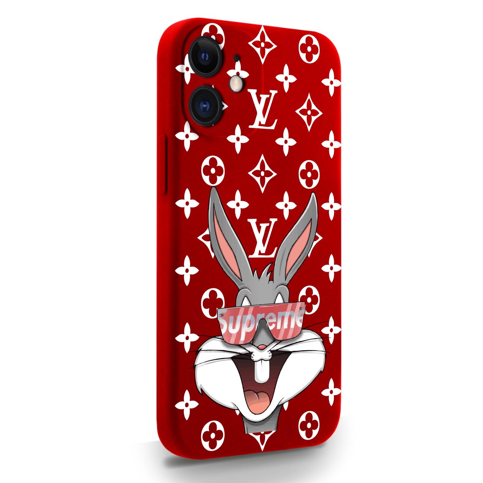 Красный силиконовый чехол для iPhone 12 Mini Мистер Богатый Заяц Supreme/ Mr. Rich Bunny Supreme для Айфон 12 Мини