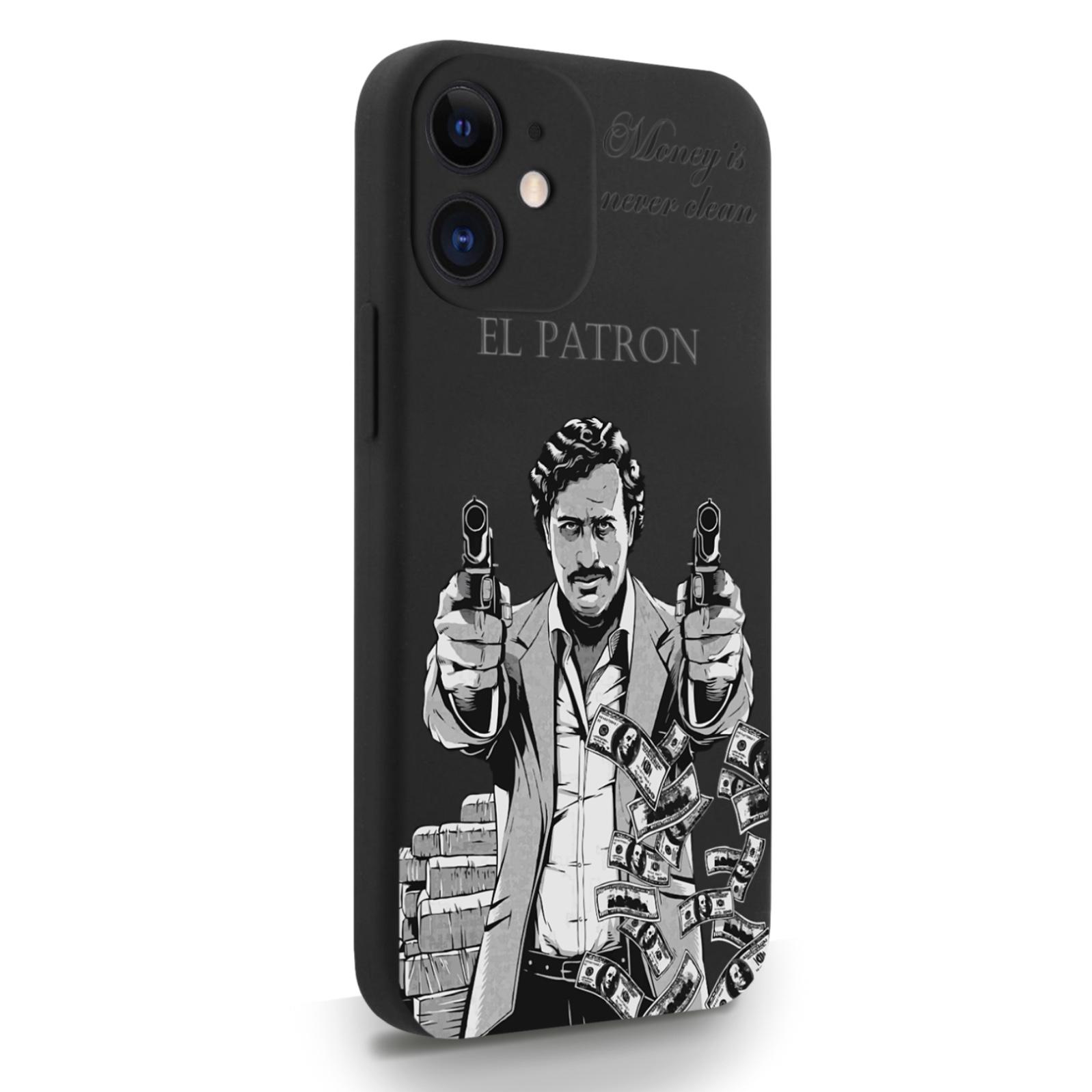 Черный силиконовый чехол для iPhone 12 Mini El Patron Pablo Escobar/ Пабло Эскобар для Айфон 12 Мини