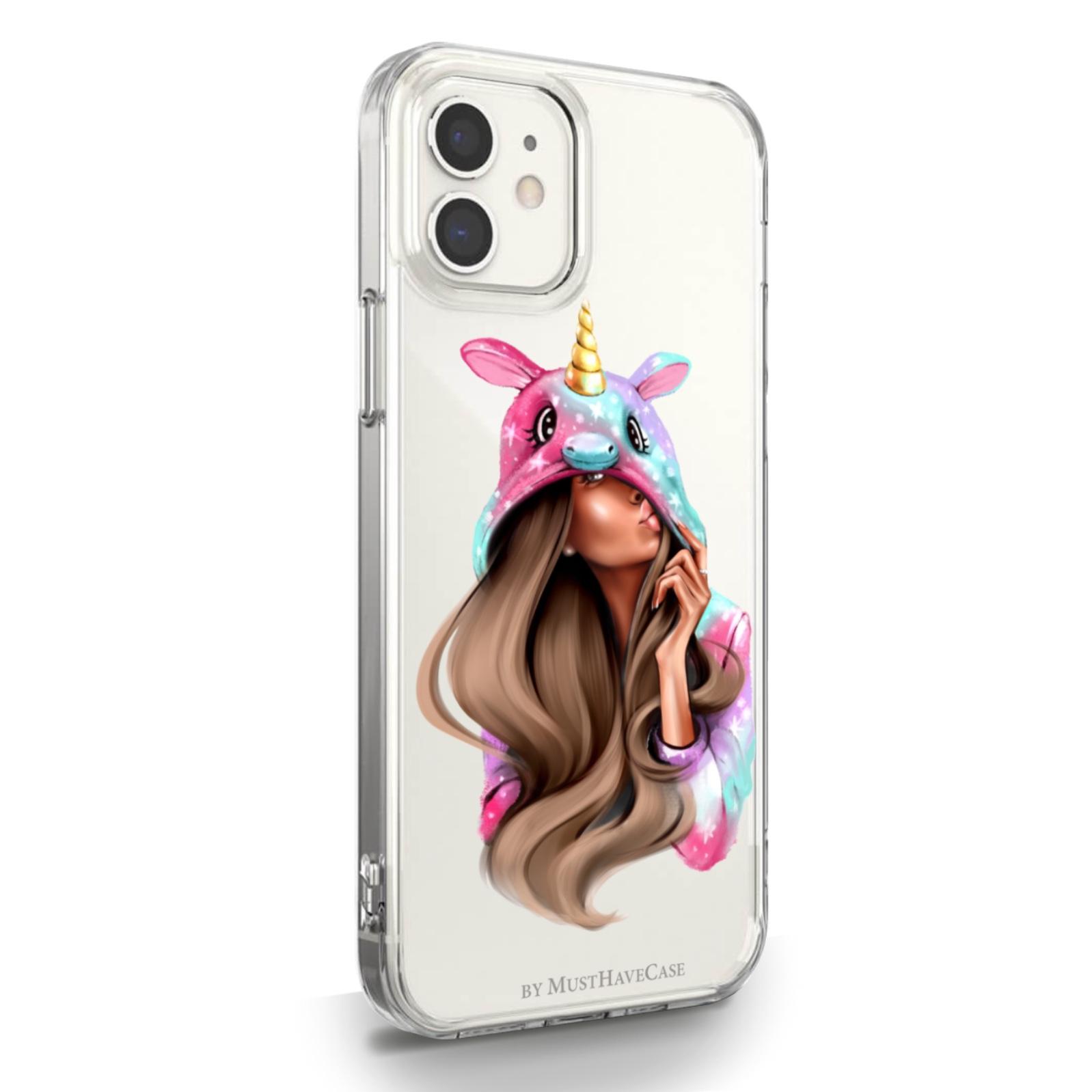 Прозрачный силиконовый чехол для iPhone 12 Mini Unicorn Girl/ Единорог для Айфон 12 Мини