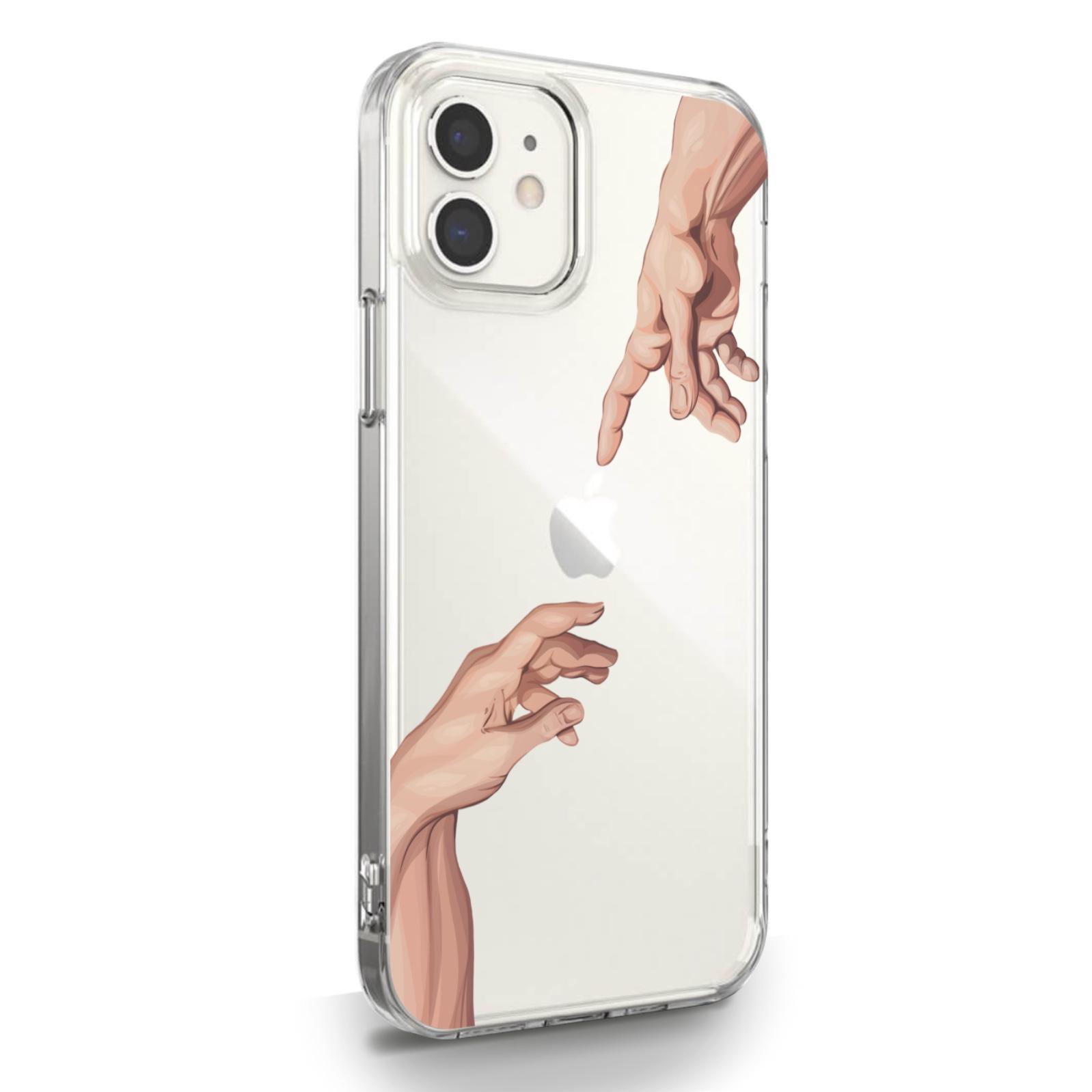Прозрачный силиконовый чехол для iPhone 12 Mini Сотворение Адама для Айфон 12 Мини