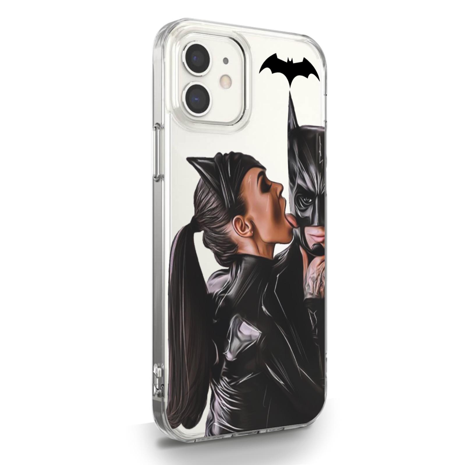Прозрачный силиконовый чехол для iPhone 12 Mini Cat Woman/ Женщина кошка Брюнетка для Айфон 12 Мини