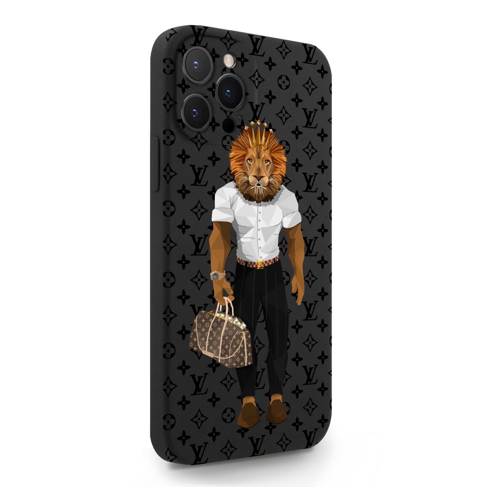 Черный силиконовый чехол для iPhone 12 Pro Max LV Lion для Айфон 12 Про Макс