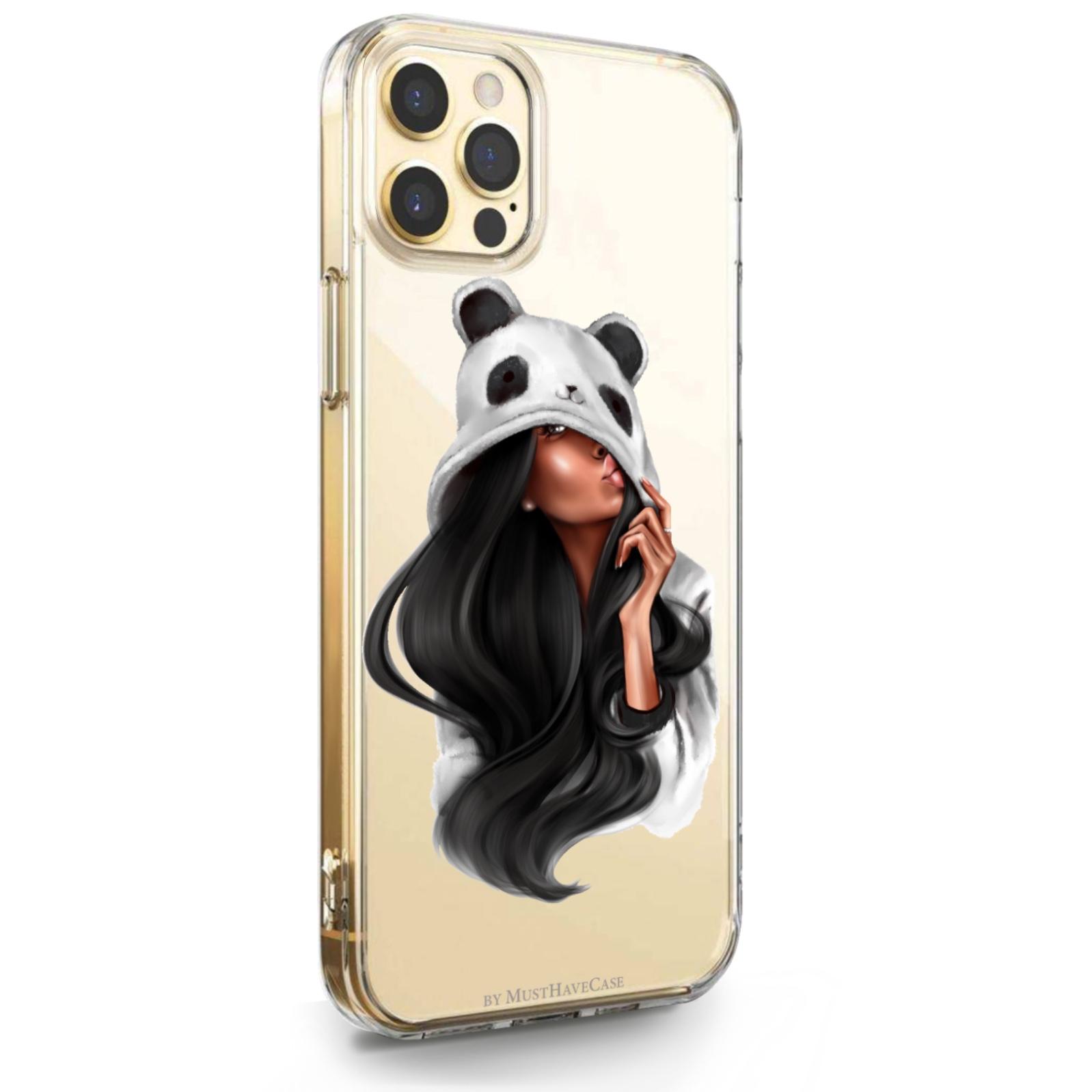 Прозрачный силиконовый чехол для iPhone 12 Pro Max Panda Girl/ Панда для Айфон 12 Про Макс