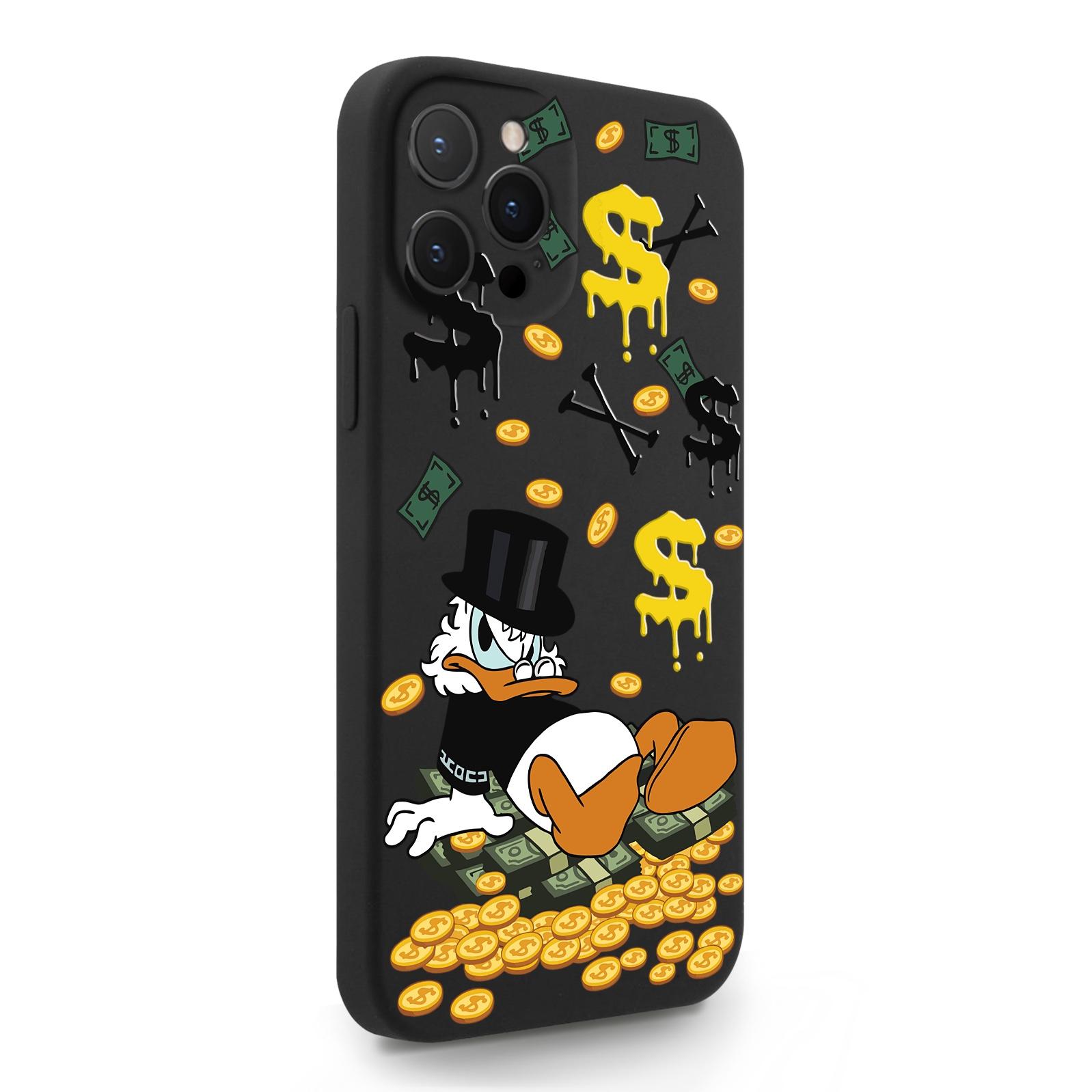 Черный силиконовый чехол для iPhone 12 Pro Max Богатенькая Утка для Айфон 12 Про Макс