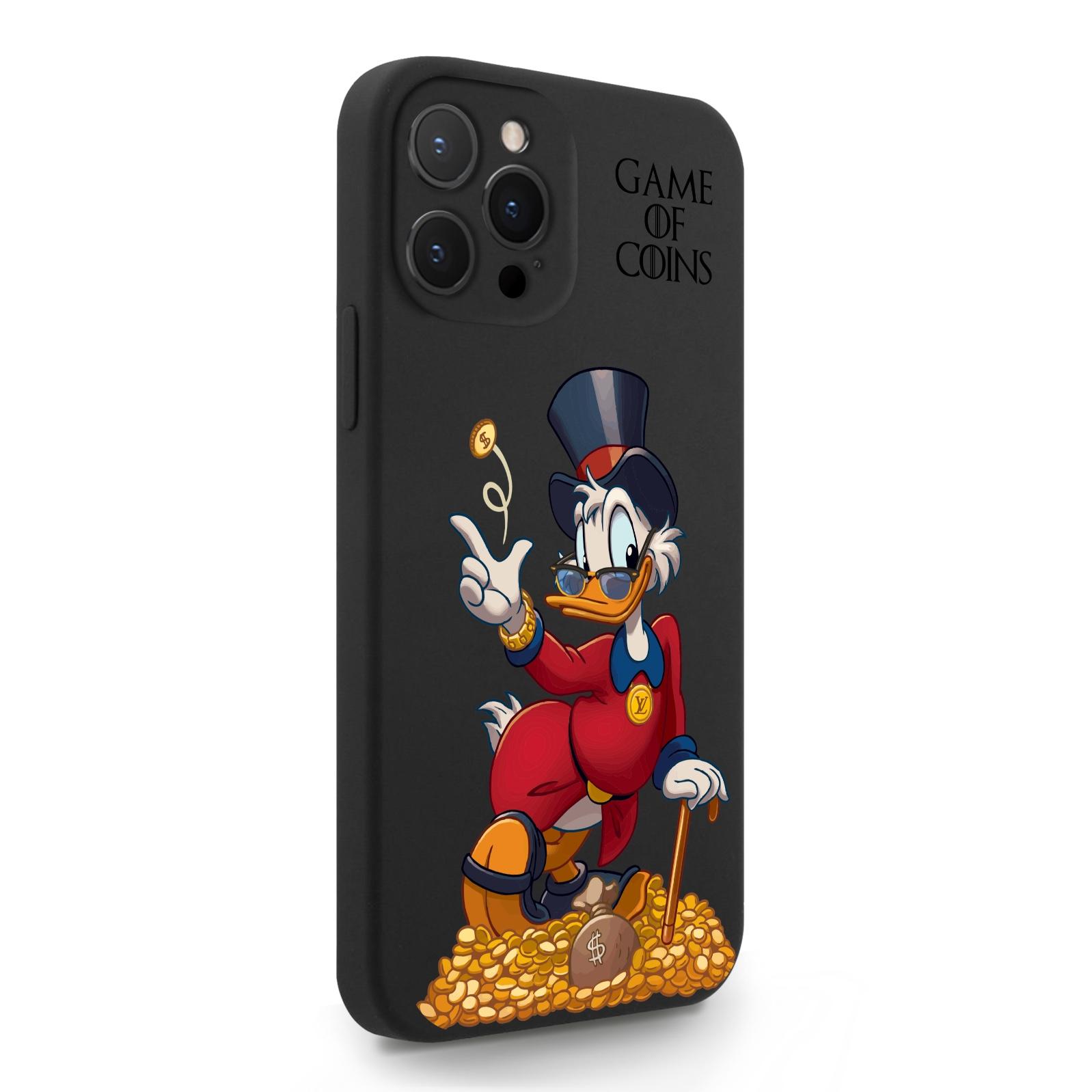 Черный силиконовый чехол для iPhone 12 Pro Max Богатая Утка Игра монет для Айфон 12 Про Макс