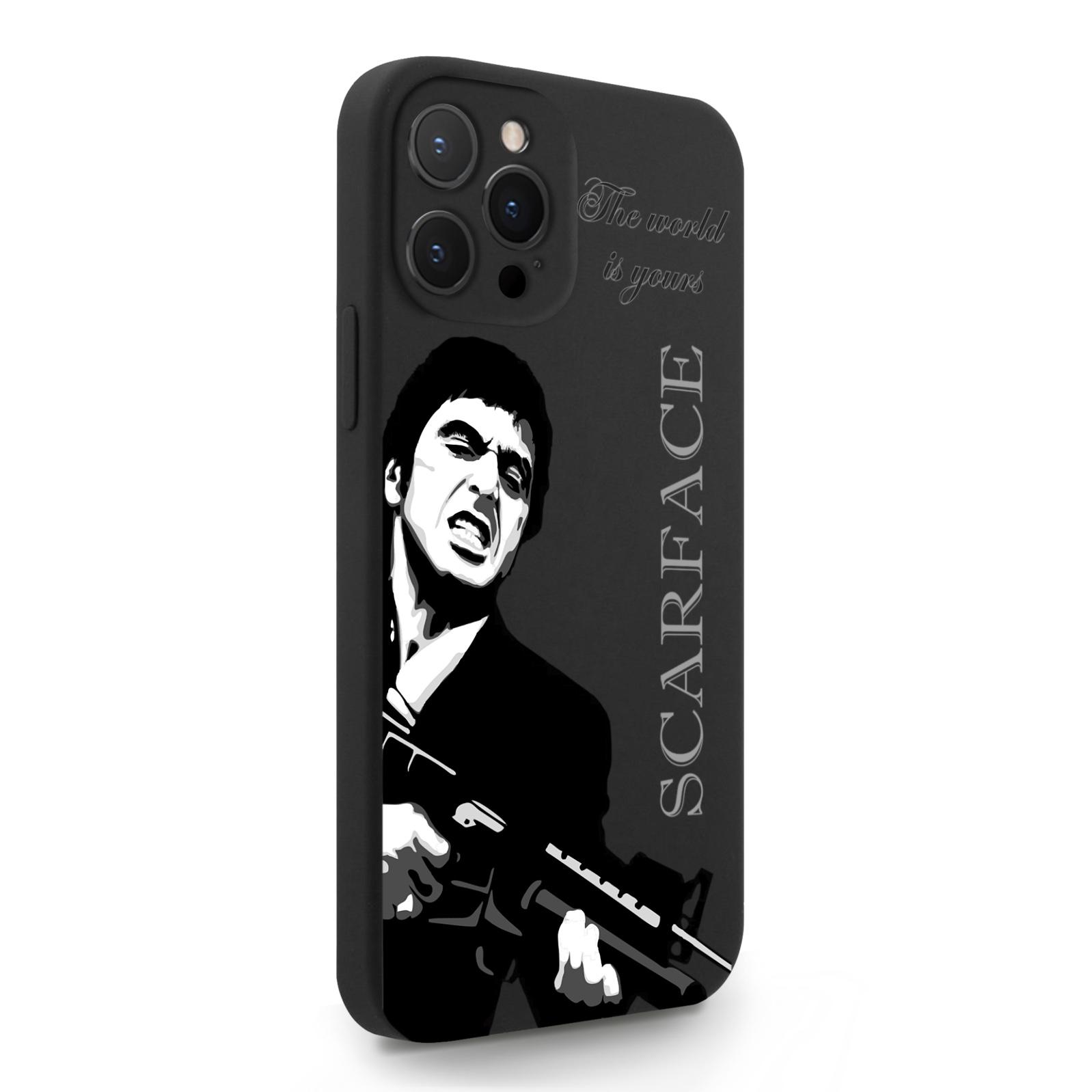 Черный силиконовый чехол для iPhone 12 Pro Max Scarface Tony Montana/ Лицо со шрамом для Айфон 12 Про Макс