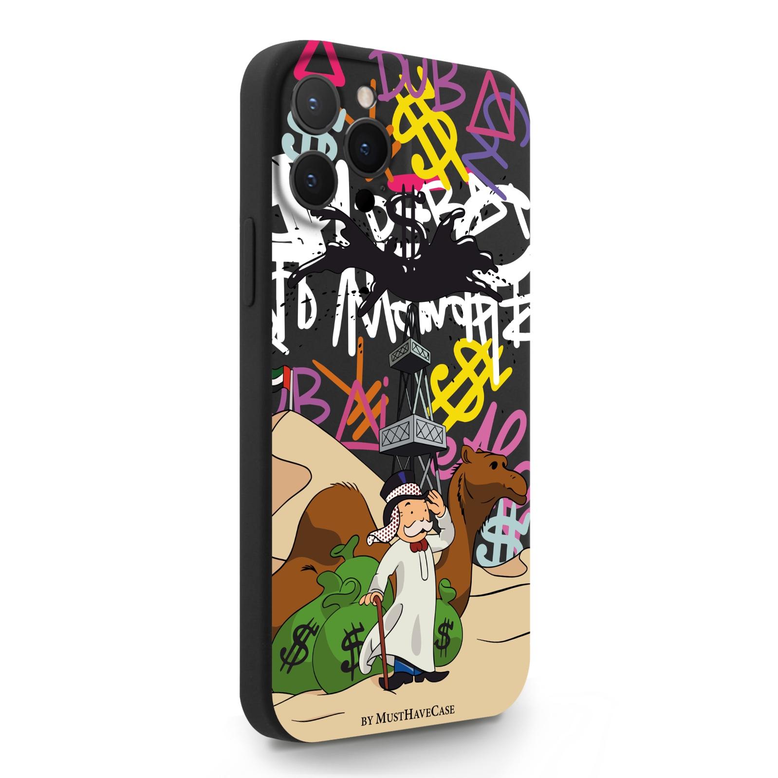 Черный силиконовый чехол для iPhone 12 Pro Max Monopoly Dubai/ Дубай для Айфон 12 Про Макс