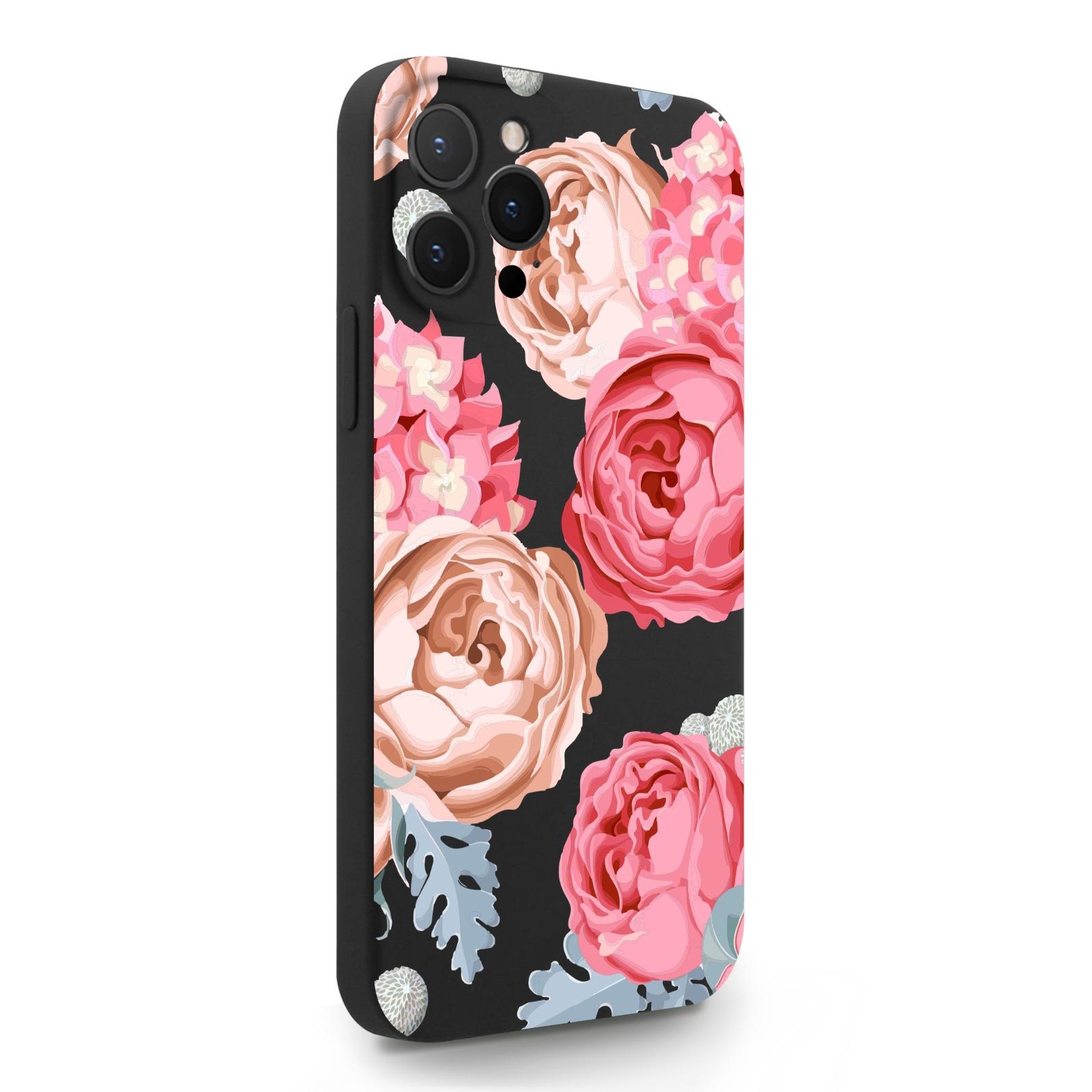 Черный силиконовый чехол для iPhone 12 Pro Max Пионы для Айфон 12 Про Макс