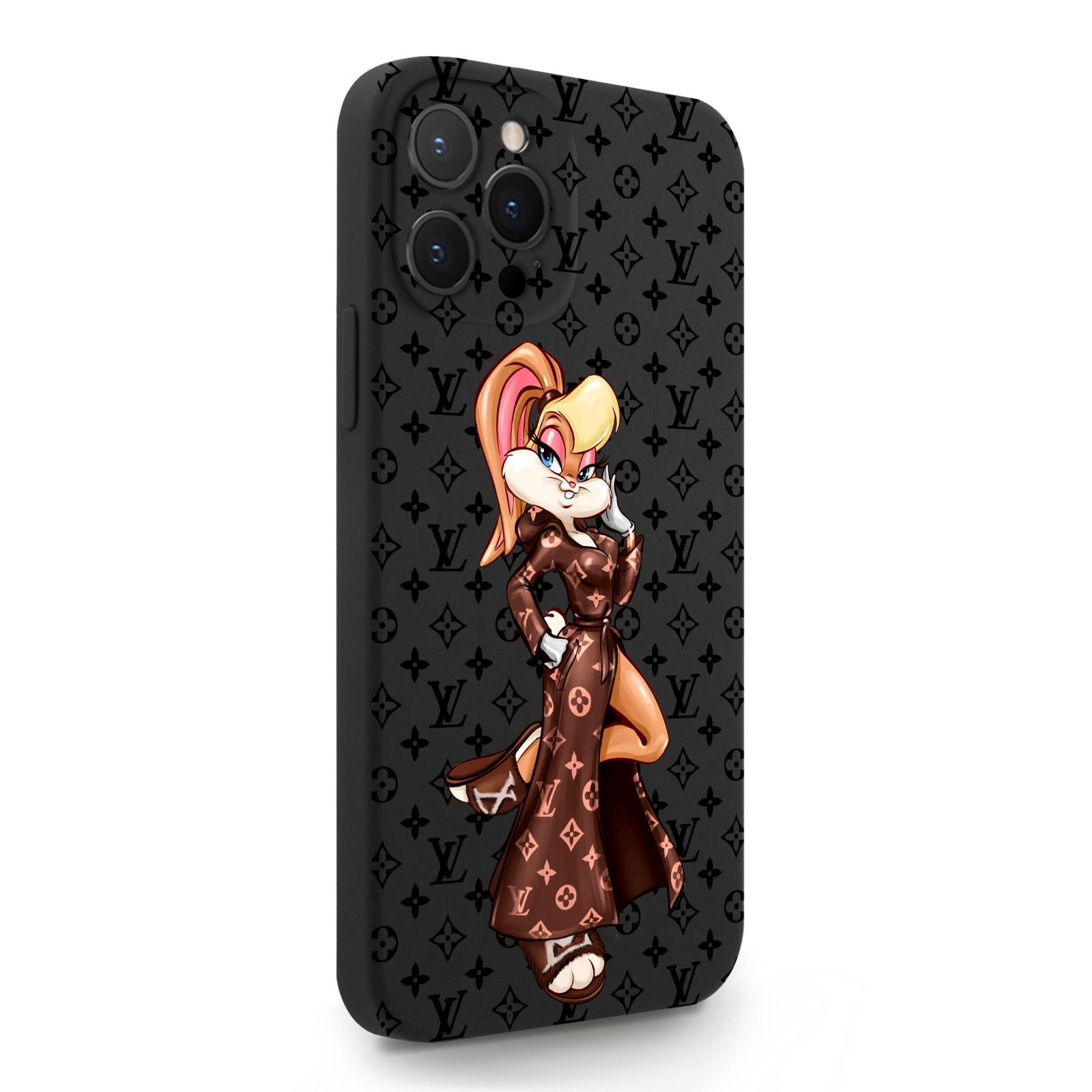 Черный силиконовый чехол для iPhone 12 Pro Max Миссис Богатая Зайка Релакс LV/ Mrs. Rich Bunny Relax LV для Айфон 12 Про Макс