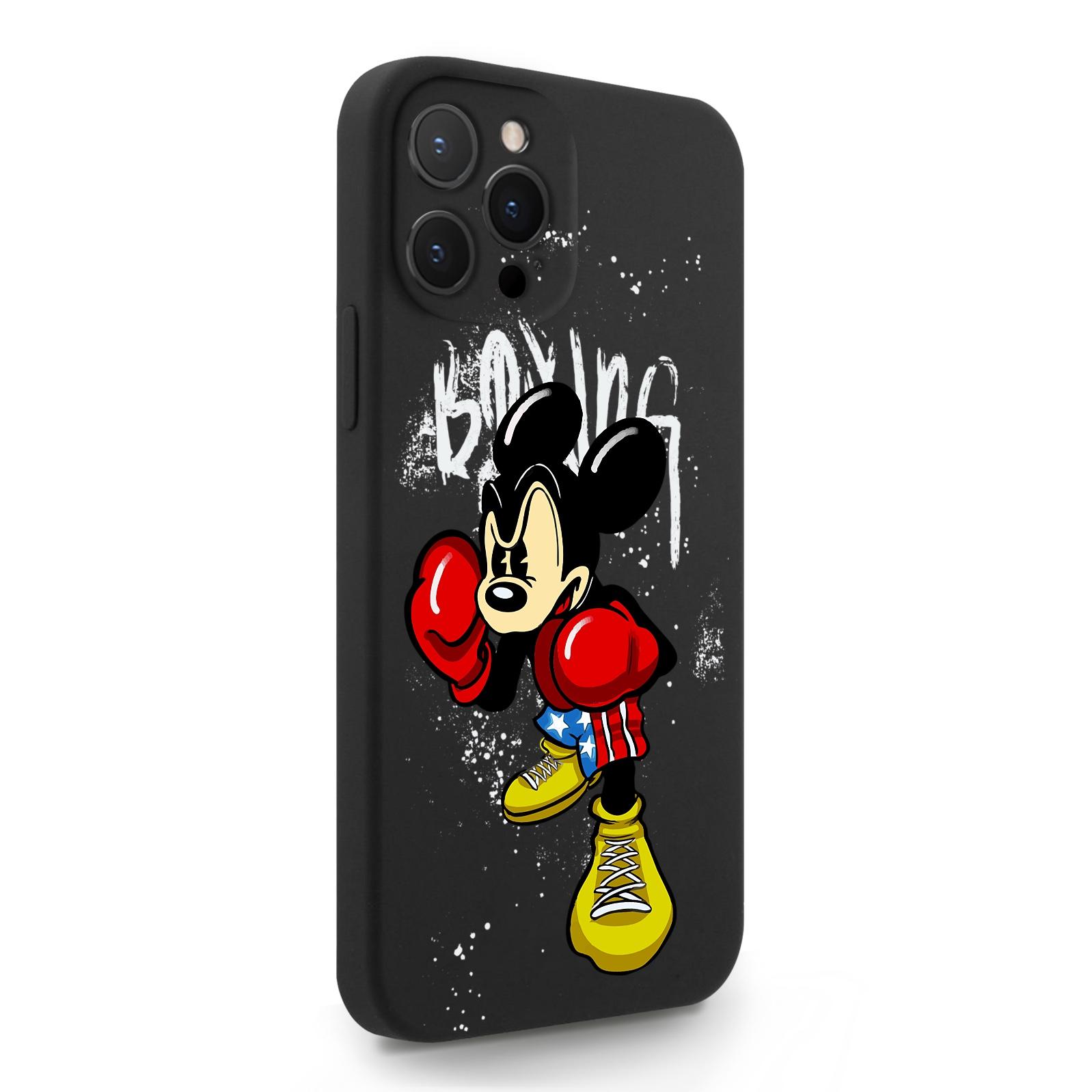 Черный силиконовый чехол для iPhone 12 Pro Max Мышонок Боксер для Айфон 12 Про Макс