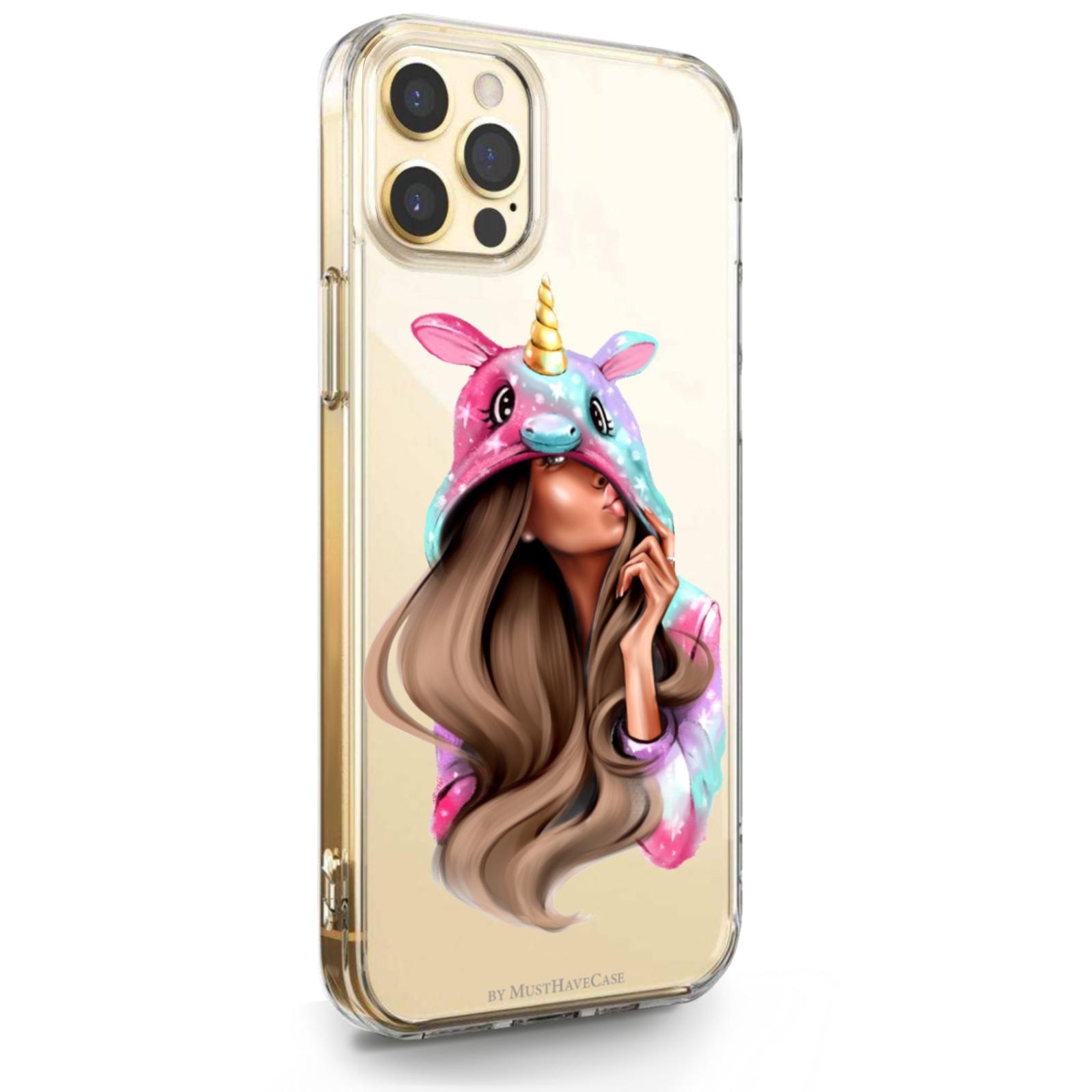 Прозрачный силиконовый чехол для iPhone 12 Pro Max Unicorn Girl/ Единорог для Айфон 12 Про Макс