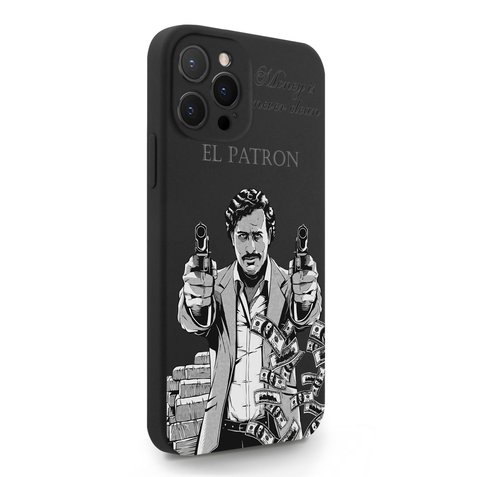 Черный силиконовый чехол для iPhone 12 Pro Max El Patron Pablo Escobar/ Пабло Эскобар для Айфон 12 Про Макс