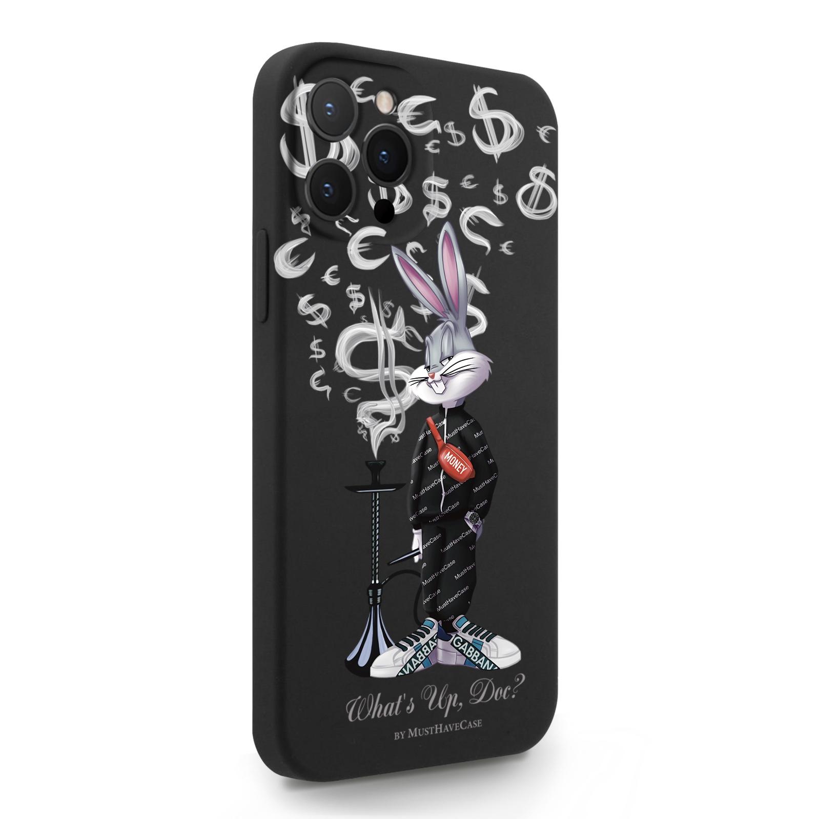 Черный силиконовый чехол для iPhone 12 Pro Max Mr. Rich Bunny Money Smoke/ Мистер Богатый Заяц Денежный Дым для Айфон 12 Про Макс