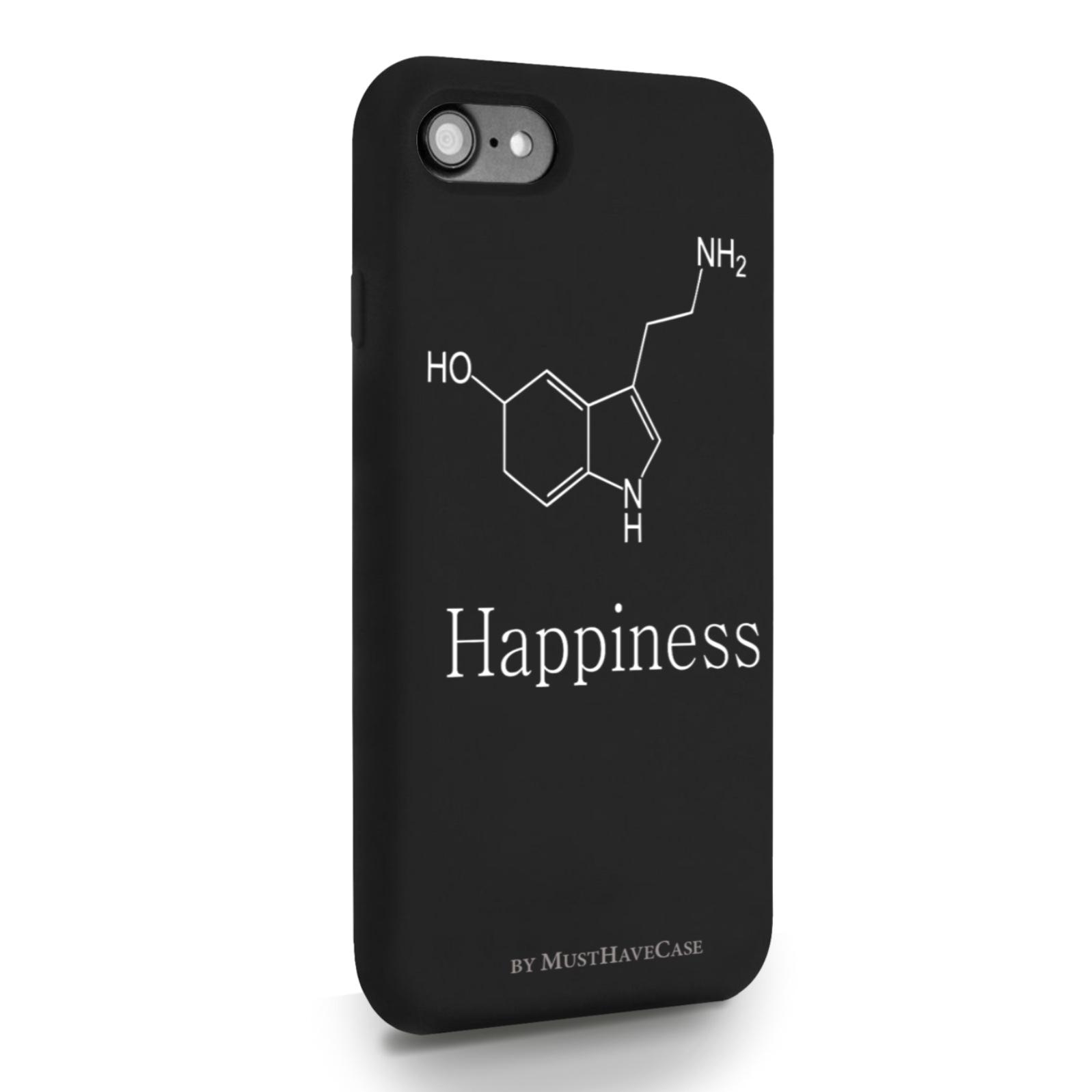 Черный силиконовый чехол для iPhone 7/8/SE2020 Молекула счастья для Айфон 7/8/СЕ2020