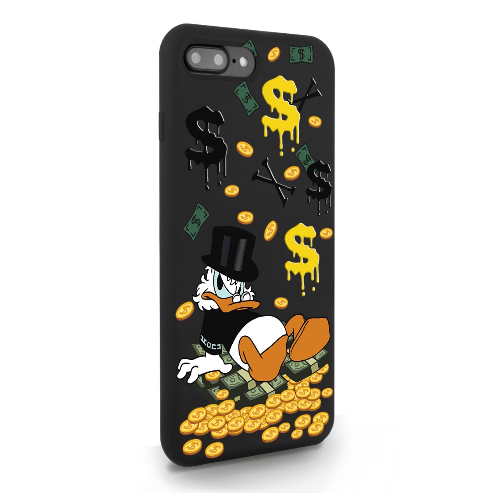 Черный силиконовый чехол для iPhone 7/8 Plus Богатенькая Утка для Айфон 7/8 Плюс