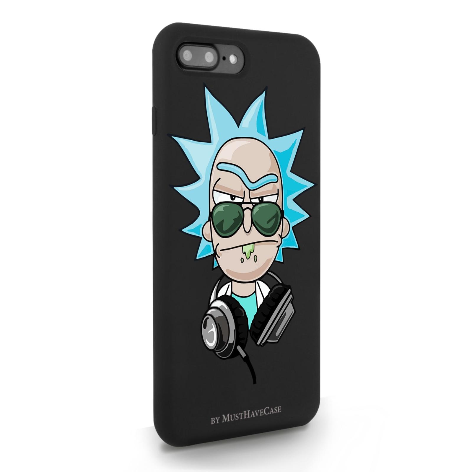 Черный силиконовый чехол для iPhone7/8 Plus Rick/ Рик и морти для Айфон 7/8 Плюс