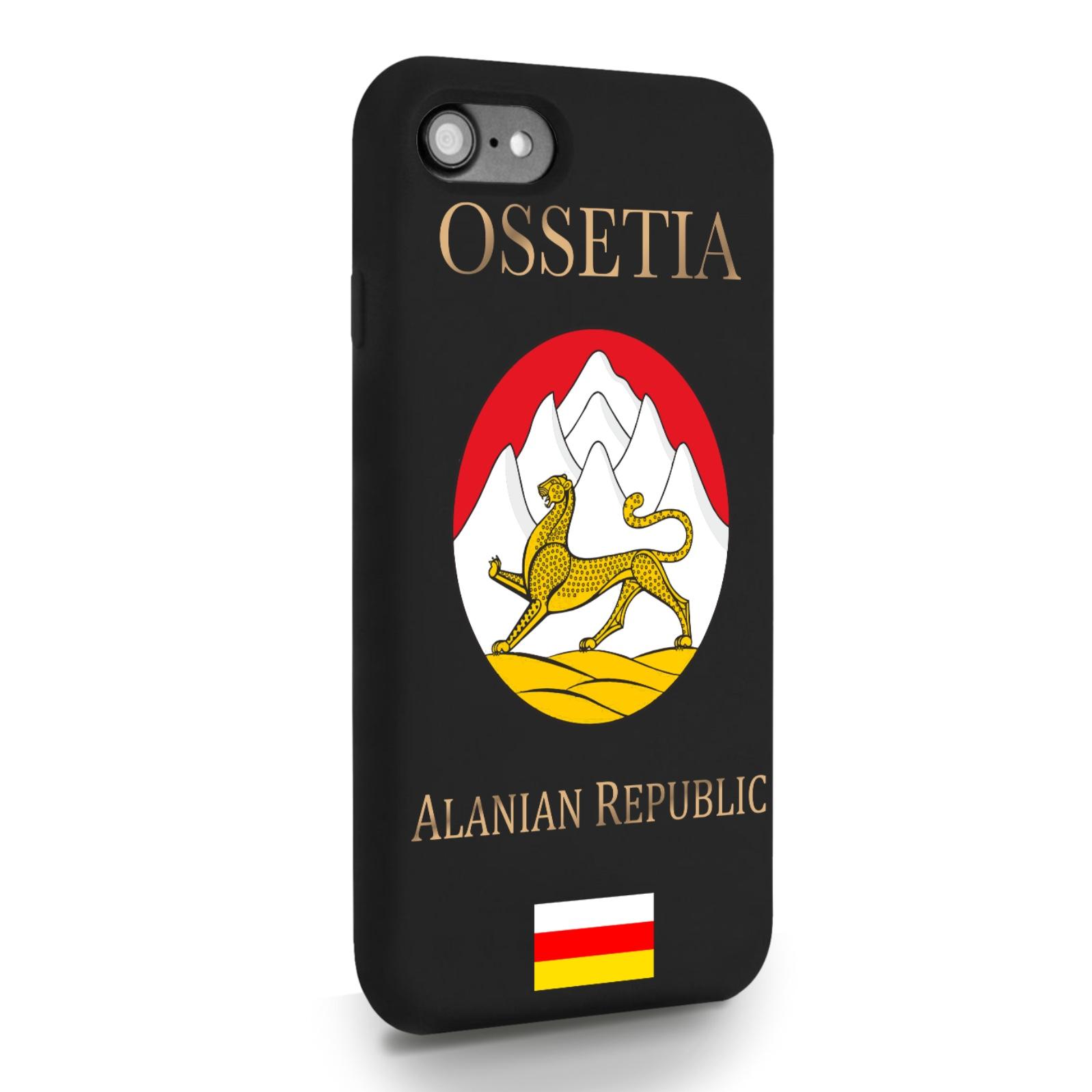 Черный силиконовый чехол для iPhone 7/8/SE2020 Герб Северной Осетии для Айфон 7/8/СЕ2020