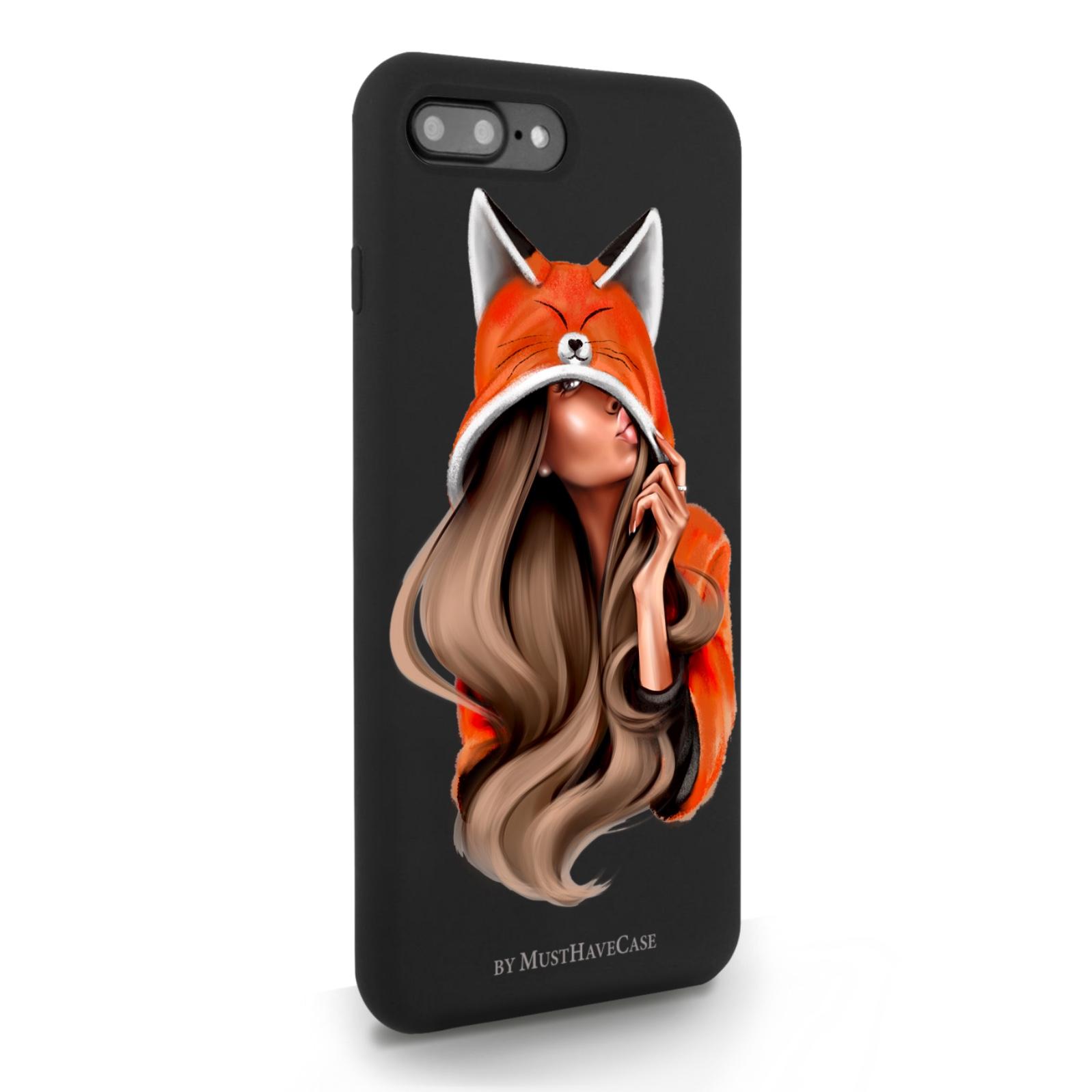 Черный силиконовый чехол для iPhone 7/8 Plus Foxy Girl/ Лисичка для Айфон 7/8 Плюс