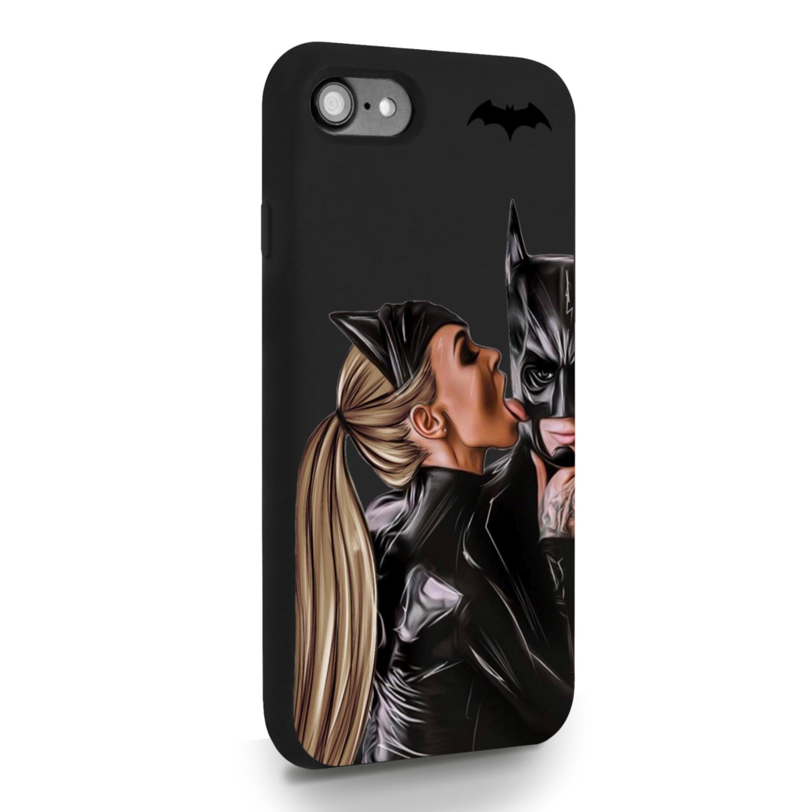 Черный силиконовый чехол для iPhone 7/8/SE2020 Cat Woman/ Женщина-кошка и бэтмен для Айфон 7/8/СЕ2020