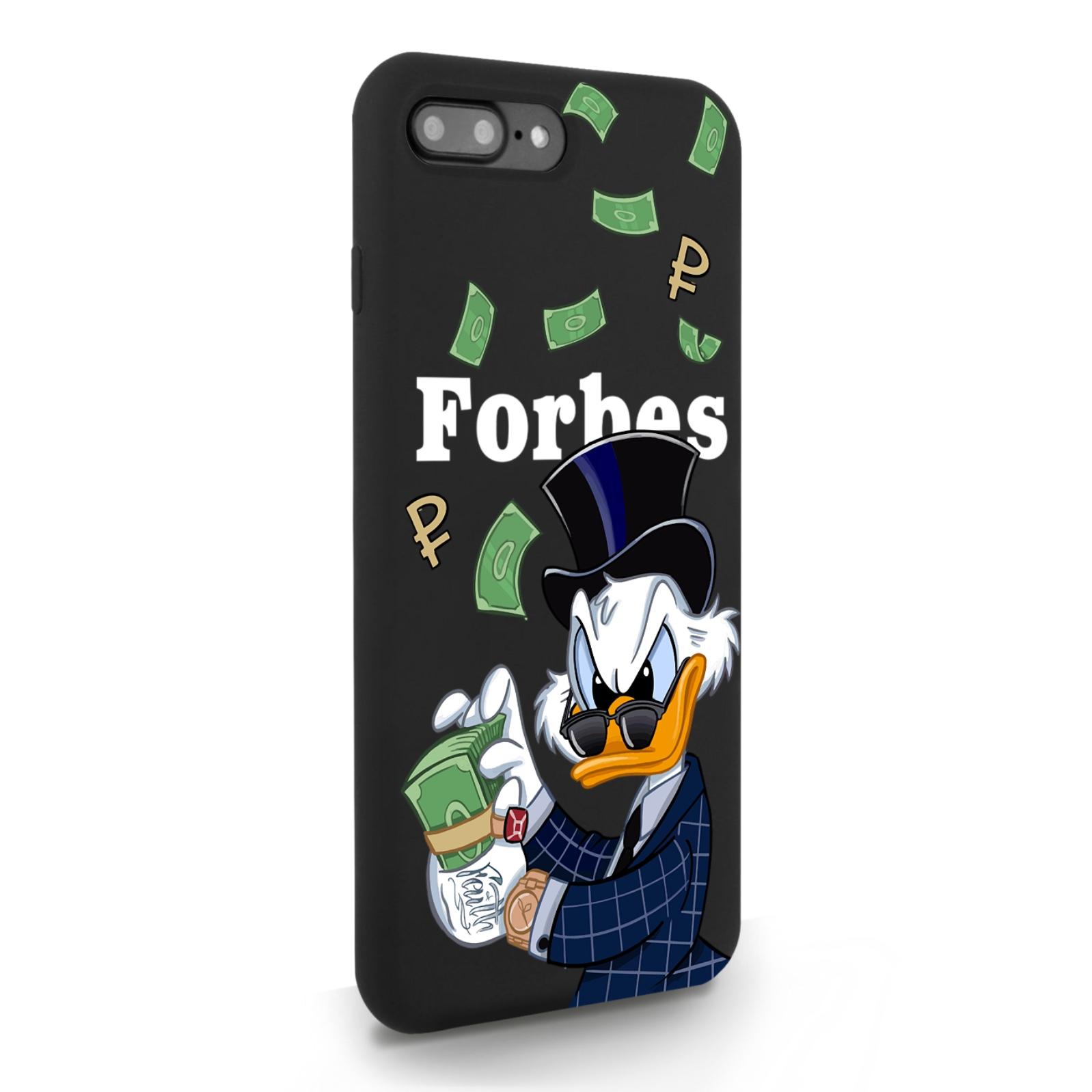 Черный силиконовый чехол для iPhone 7/8 Plus Богатая Утка с деньгами Айфон для 7/8 Плюс