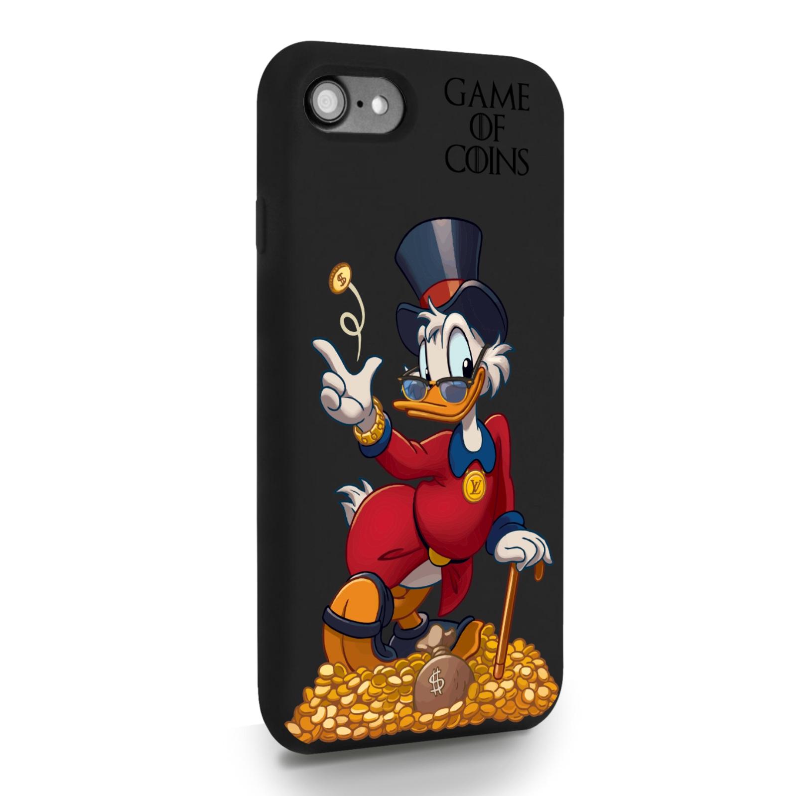 Черный силиконовый чехол для iPhone 7/8/SE2020 Богатая Утка Игра монет для Айфон 7/8/СЕ2020