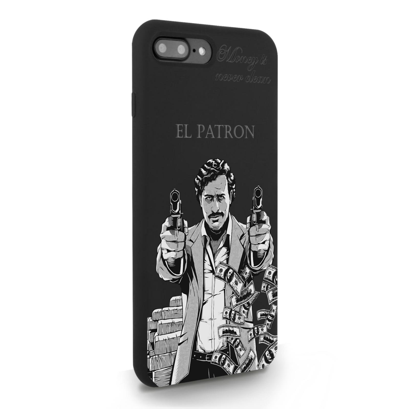 Черный силиконовый чехол для iPhone 7/8 Plus El Patron Pablo Escobar Пабло Эскобар для Айфон 7/8 Плюс