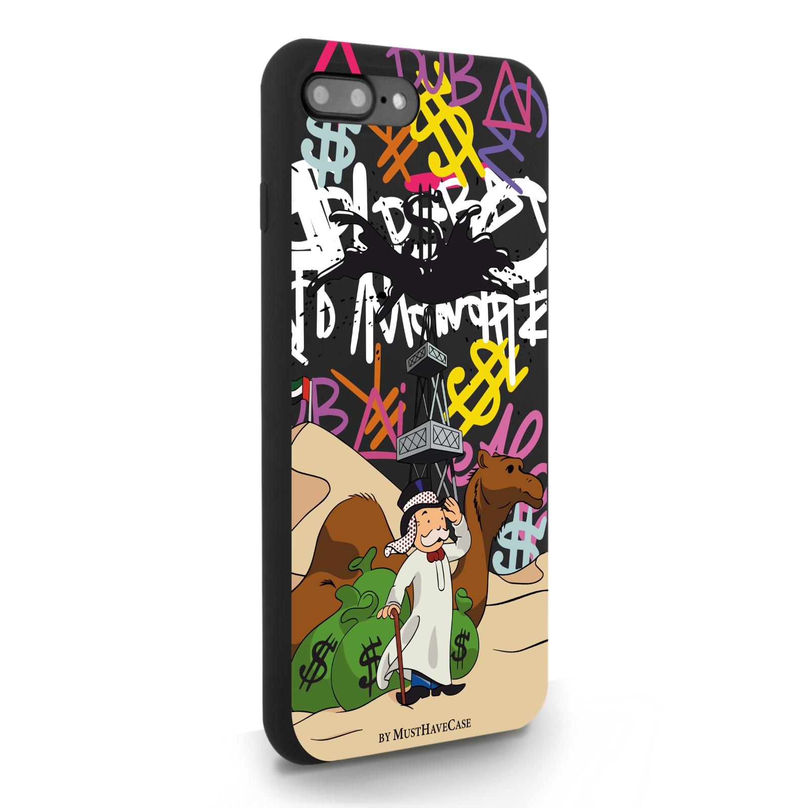 Черный силиконовый чехол для iPhone 7/8 Plus Monopoly Dubai/ Дубай для Айфон 7/8 Плюс