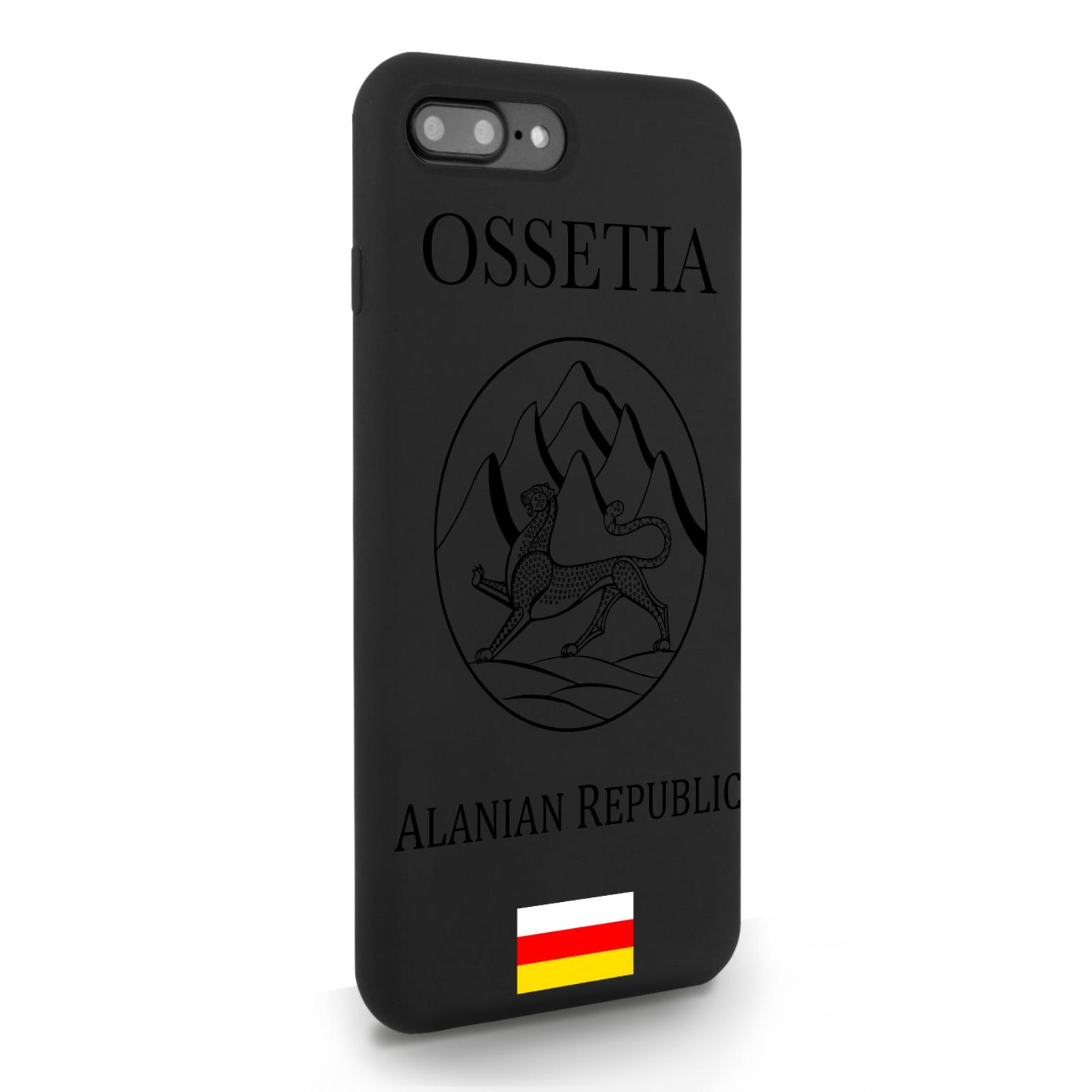 Черный силиконовый чехол для iPhone 7/8 Plus Черный лаковый Герб Северной Осетии для Айфон 7/8 Плюс