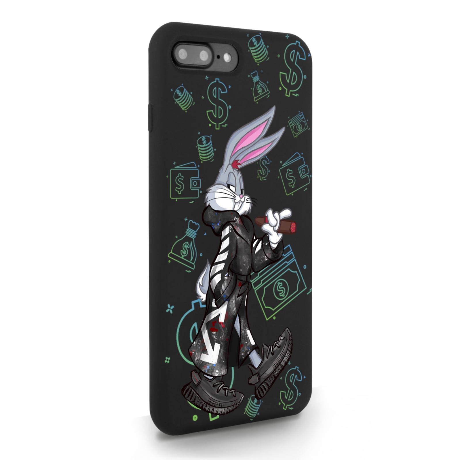 Черный силиконовый чехол для iPhone 7/8 Plus Mr. Rich Bunny Neon/ Мистер Богатый Заяц Неон для Айфон 7/8 Плюс