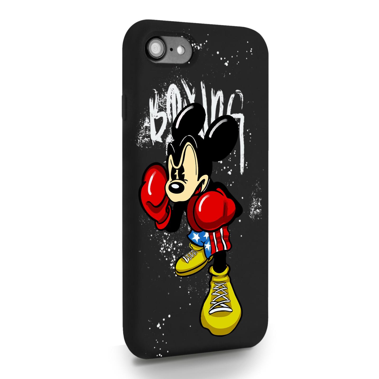 Черный силиконовый чехол для iPhone 7/8/SE2020 Мышонок Боксер для Айфон 7/8/СЕ2020