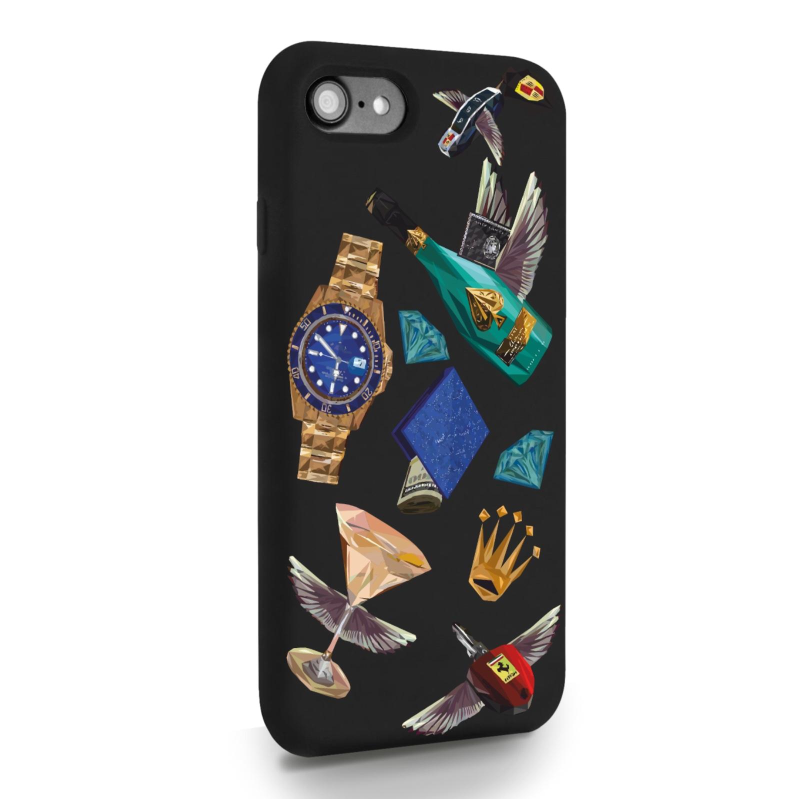 Черный силиконовый чехол для iPhone 7/8/SE2020 Luxury lifestyle для Айфон 7/8/СЕ2020