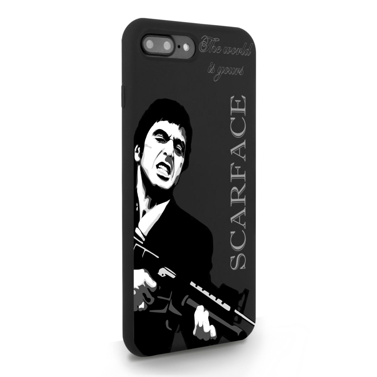 Черный силиконовый чехол для iPhone 7/8 Plus Scarface Tony Montana Лицо со шрамом для Айфон 7/8 Плюс