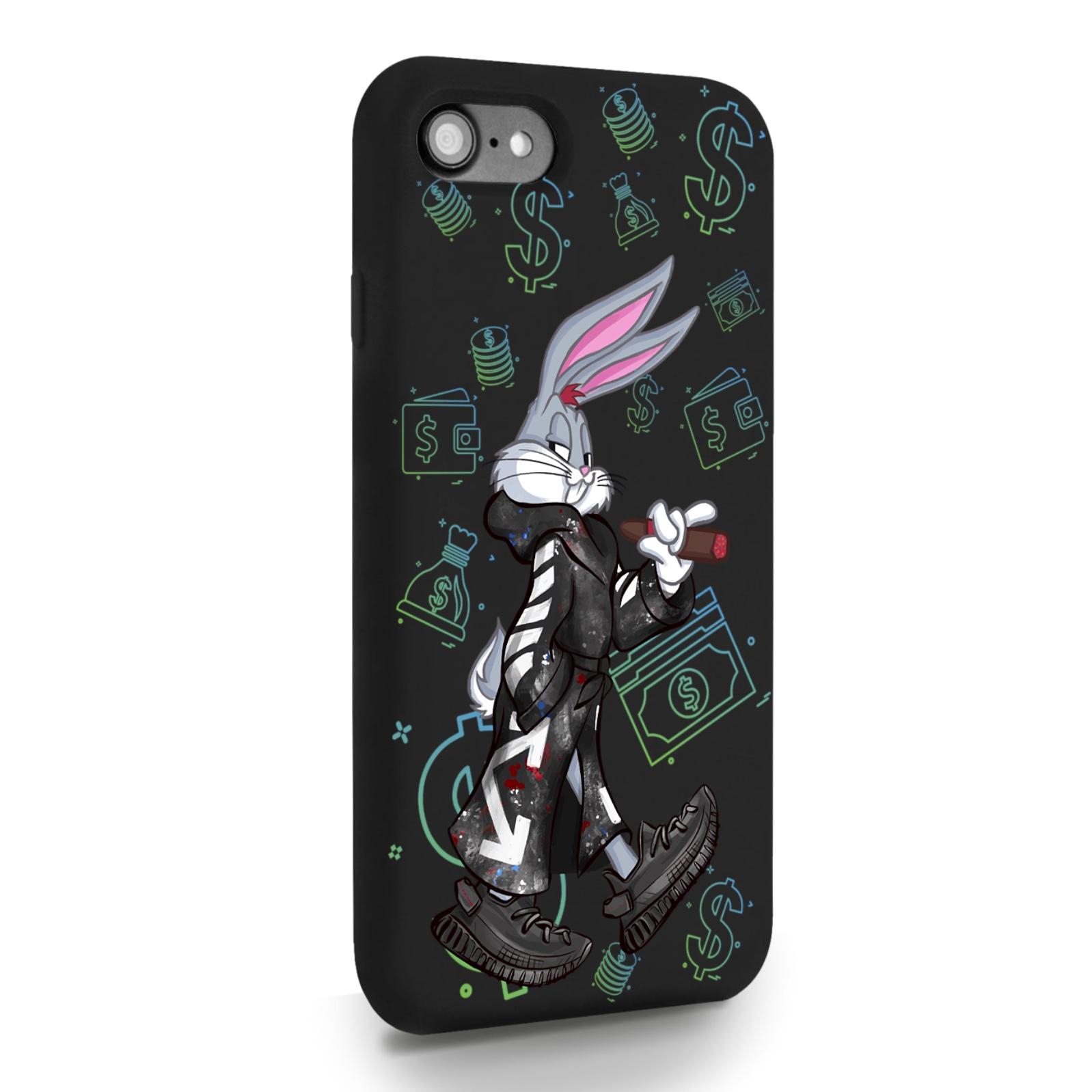 Черный силиконовый чехол для iPhone 7/8/SE2020 Mr. Rich Bunny Neon/ Мистер Богатый Заяц Неон для Айфон 7/8/СЕ2020