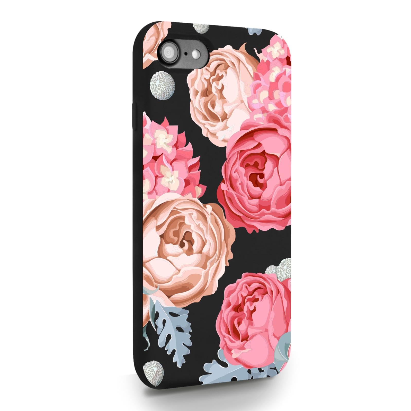 Черный силиконовый чехол для iPhone 7/8/SE2020 Пионы для Айфон 7/8/СЕ2020