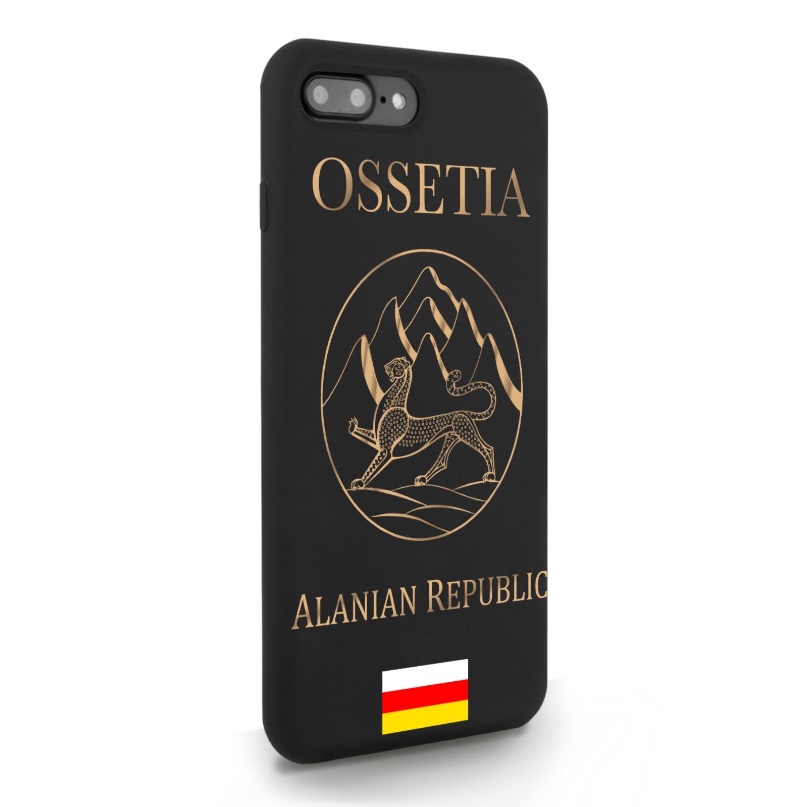 Черный силиконовый чехол для iPhone 7/8 Plus Золотой Герб Северной Осетии для Айфон 7/8 Плюс