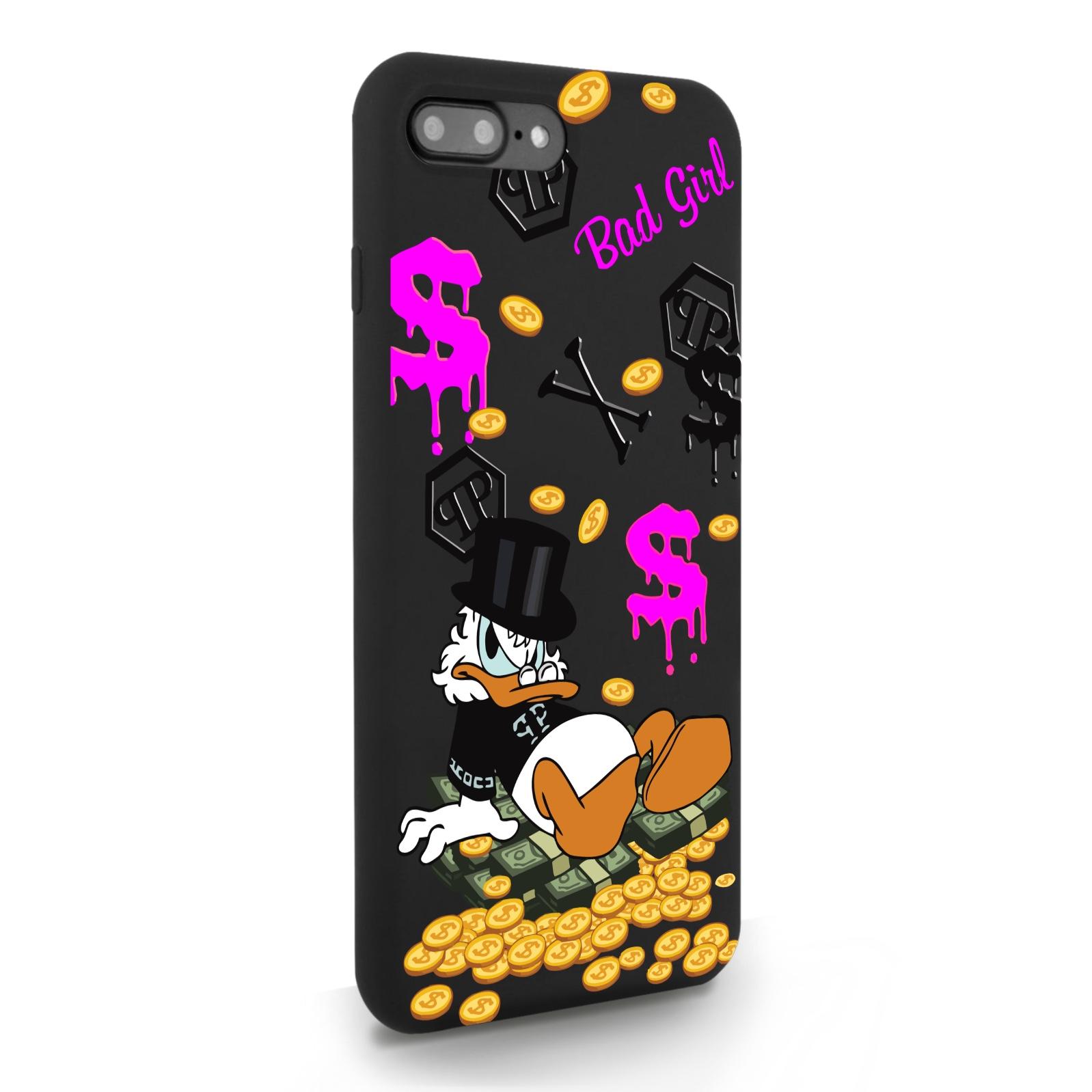 Черный силиконовый чехол для iPhone 7/8 Plus Богатая Утка Bad Girl для Айфон 7/8 Плюс
