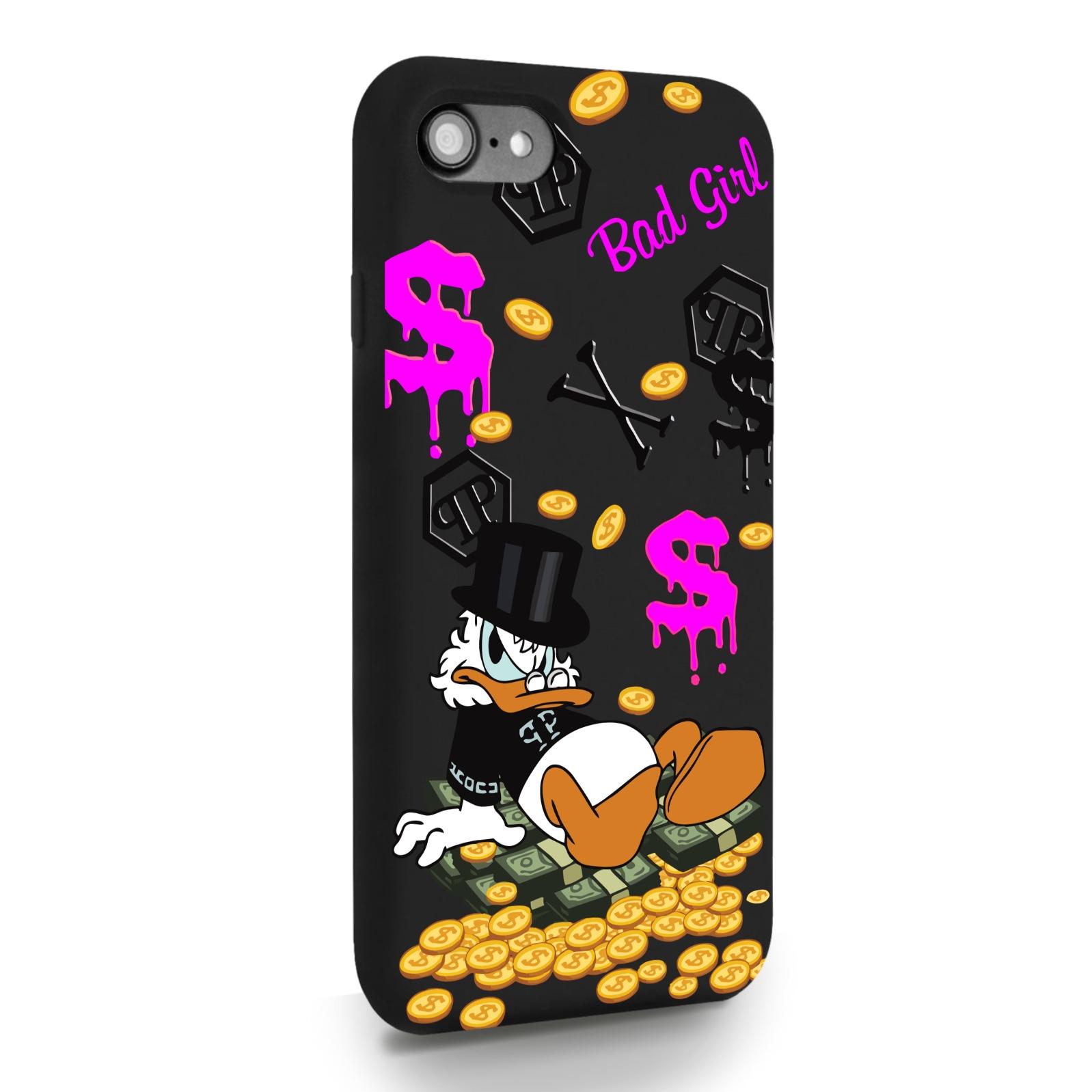 Черный силиконовый чехол для iPhone 7/8/SE2020 Богатая Утка Bad Girl для Айфон 7/8/СЕ2020