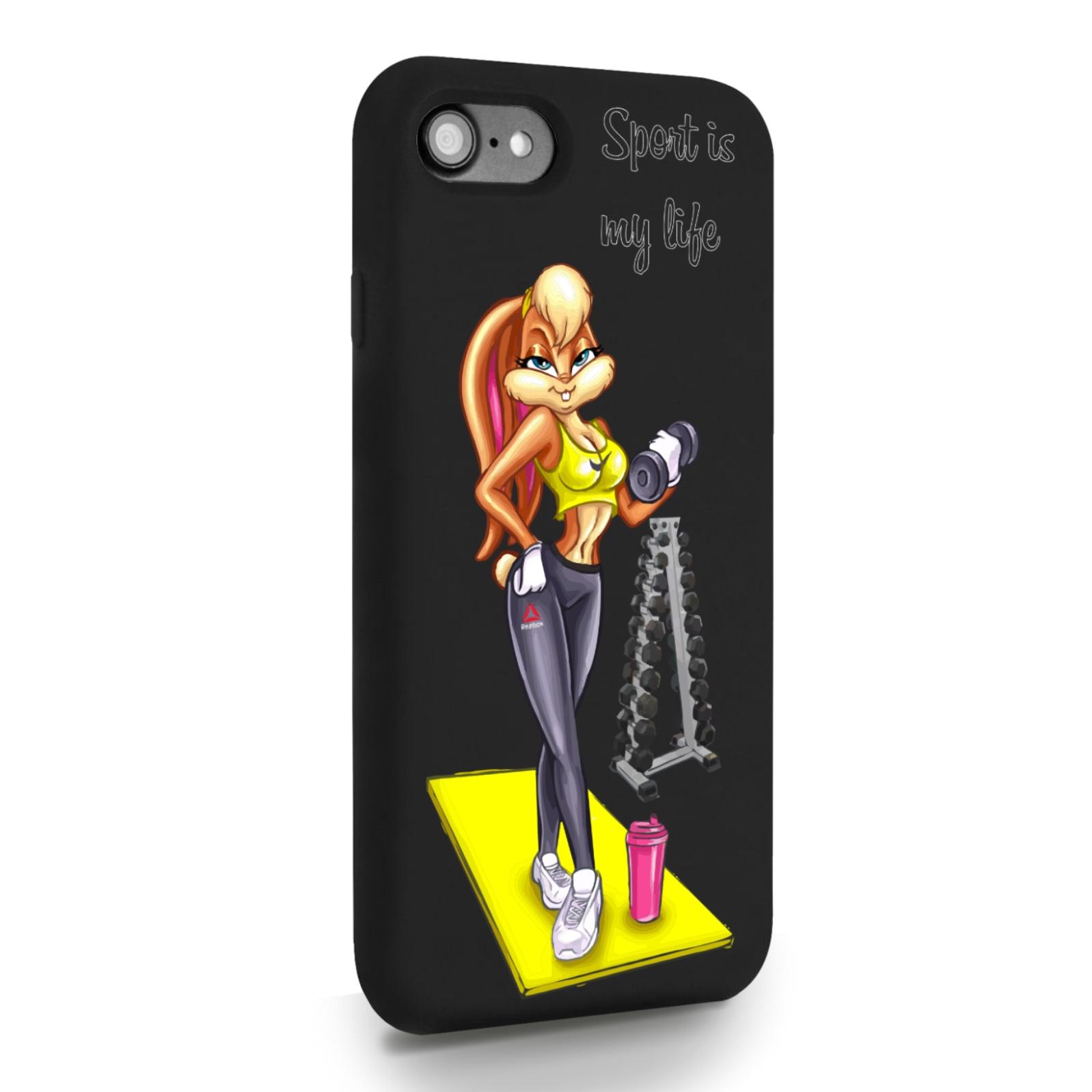 Черный силиконовый чехол для iPhone 7/8/SE2020 Спортивная Зайка для Айфон 7/8/СЕ2020
