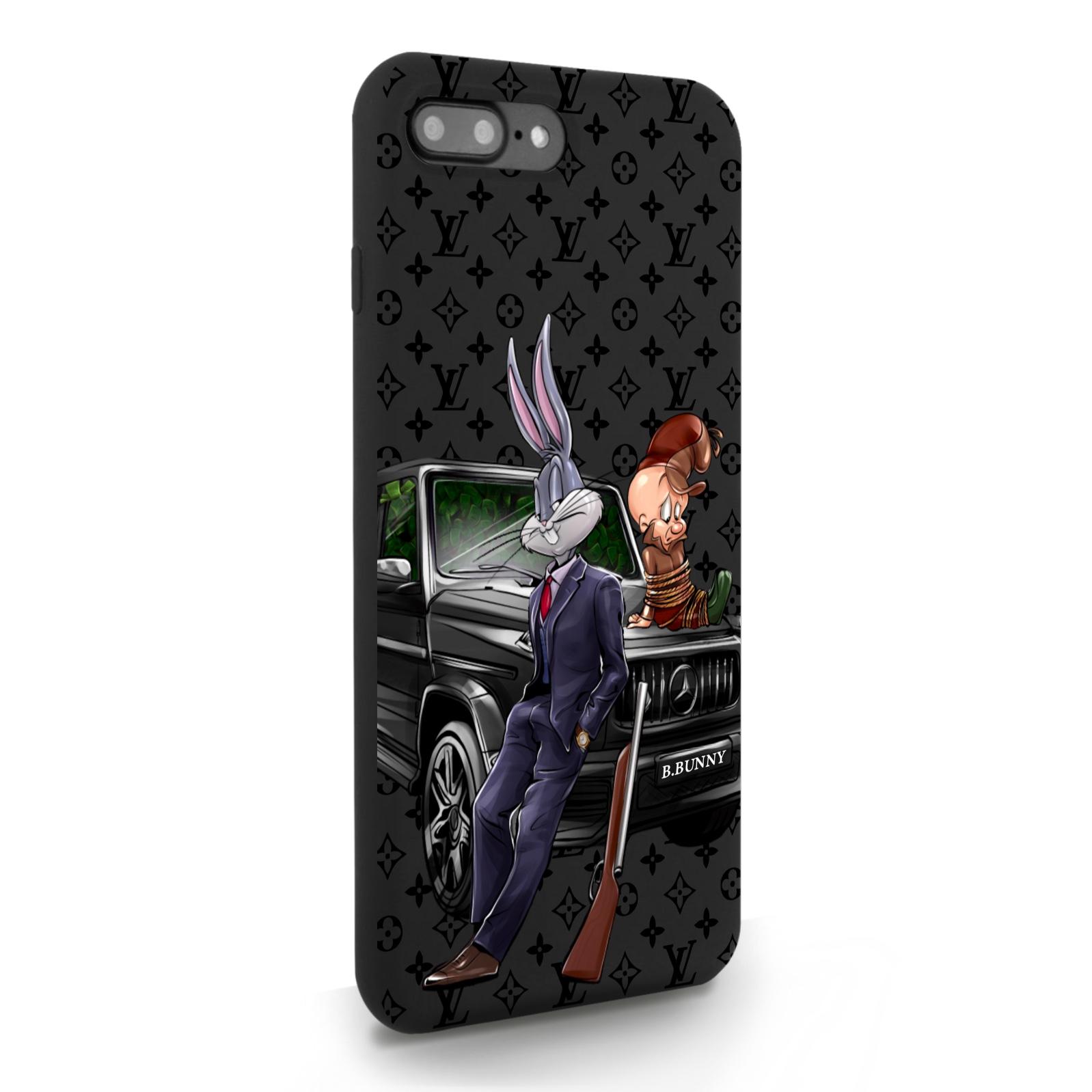Черный силиконовый чехол для iPhone 7/8 Plus Мистер Богатый Заяц Бизнес/ Mr. Rich Bunny Business для Айфон 7/8 Плюс