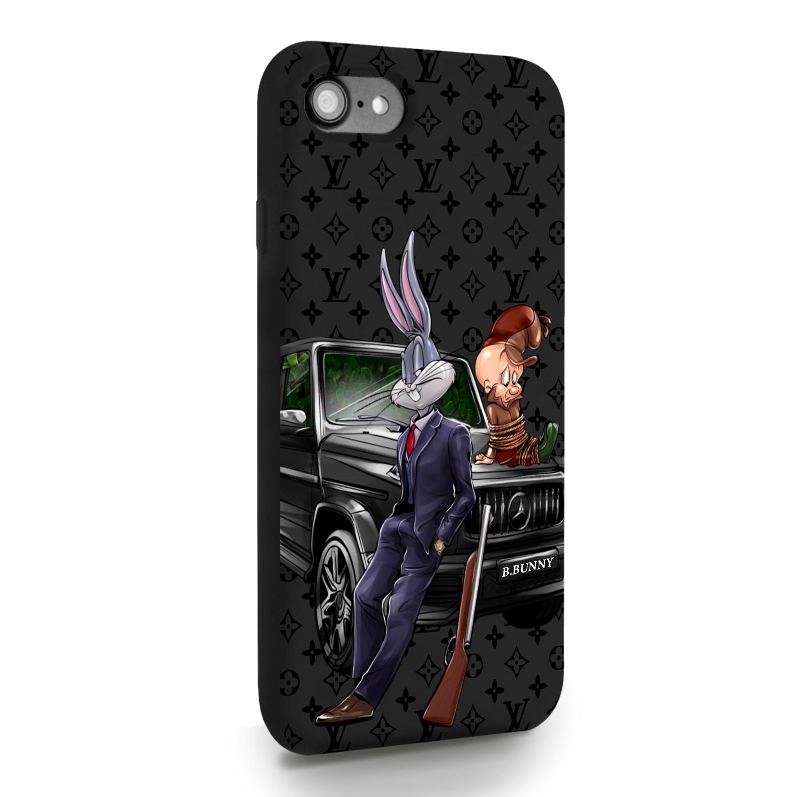 Черный силиконовый чехол для iPhone 7/8/SE2020 Мистер Богатый Заяц Бизнес/ Mr. Rich Bunny Business для Айфон 7/8/СЕ2020