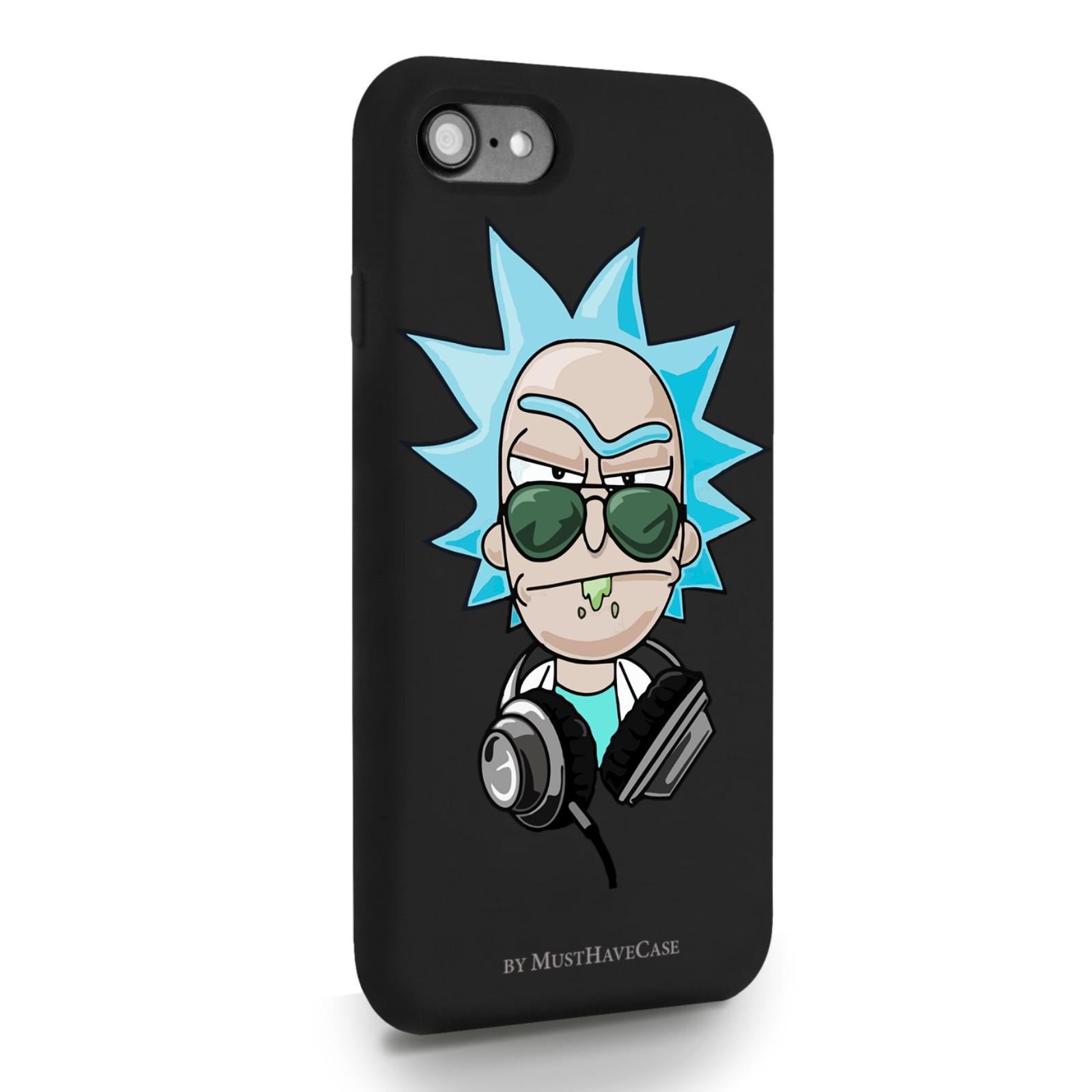 Черный силиконовый чехол для iPhone 7/8/SE2020 Rick/ Рик и морти для Айфон 7/8/СЕ2020