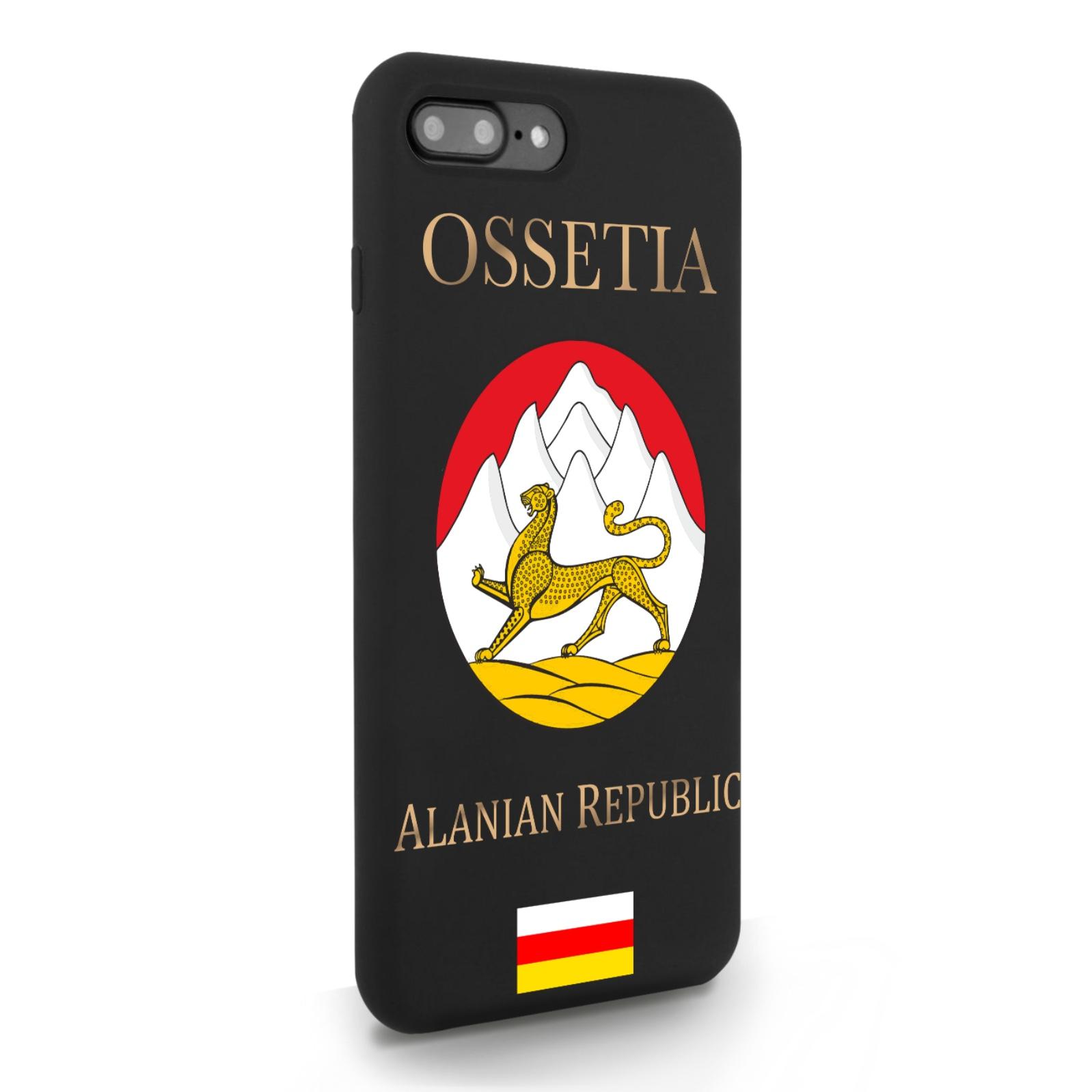 Черный силиконовый чехол для iPhone 7/8 Plus Герб Северной Осетии для Айфон 7/8 Плюс