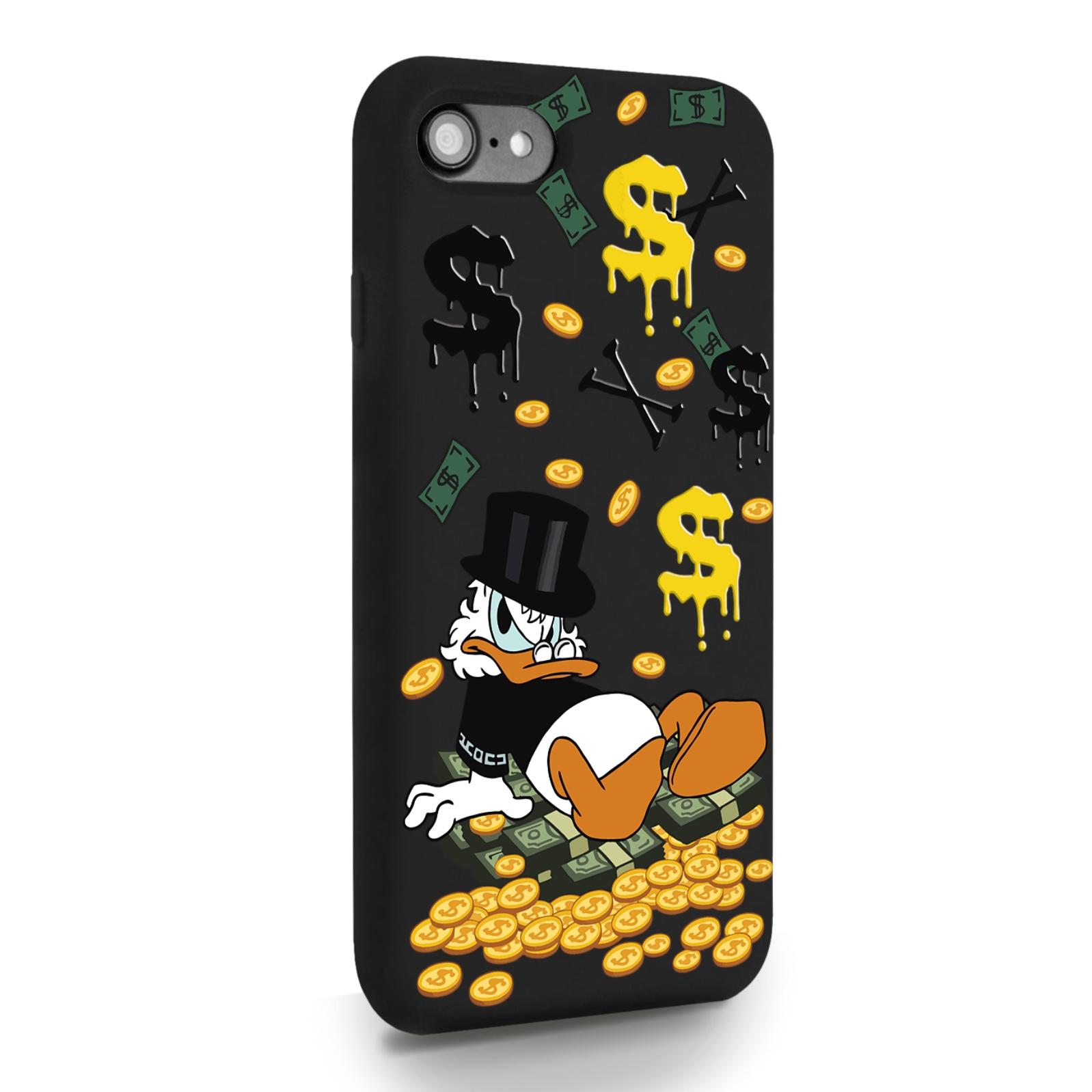 Черный силиконовый чехол для iPhone 7/8/SE2020 Богатенькая Утка для Айфон 7/8/СЕ2020
