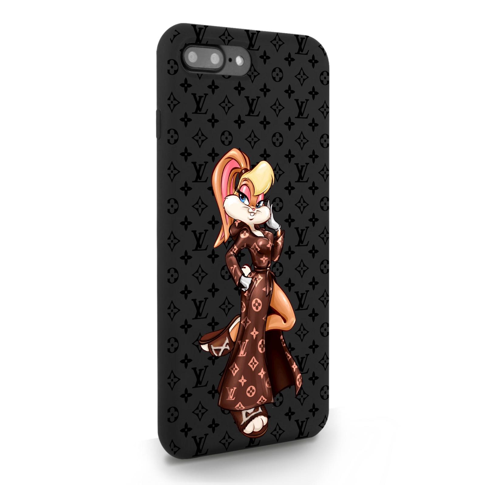 Черный силиконовый чехол для iPhone 7/8 Plus Миссис Богатая Зайка Релакс LV/ Mrs. Rich Bunny Relax LV для Айфон 7/8 Плюс