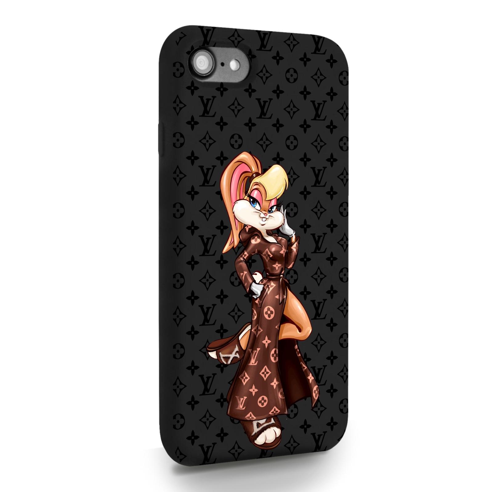 Черный силиконовый чехол для iPhone 7/8/SE2020 Миссис Богатая Зайка Релакс LV/ Mrs. Rich Bunny Relax LV для Айфон 7/8/СЕ2020
