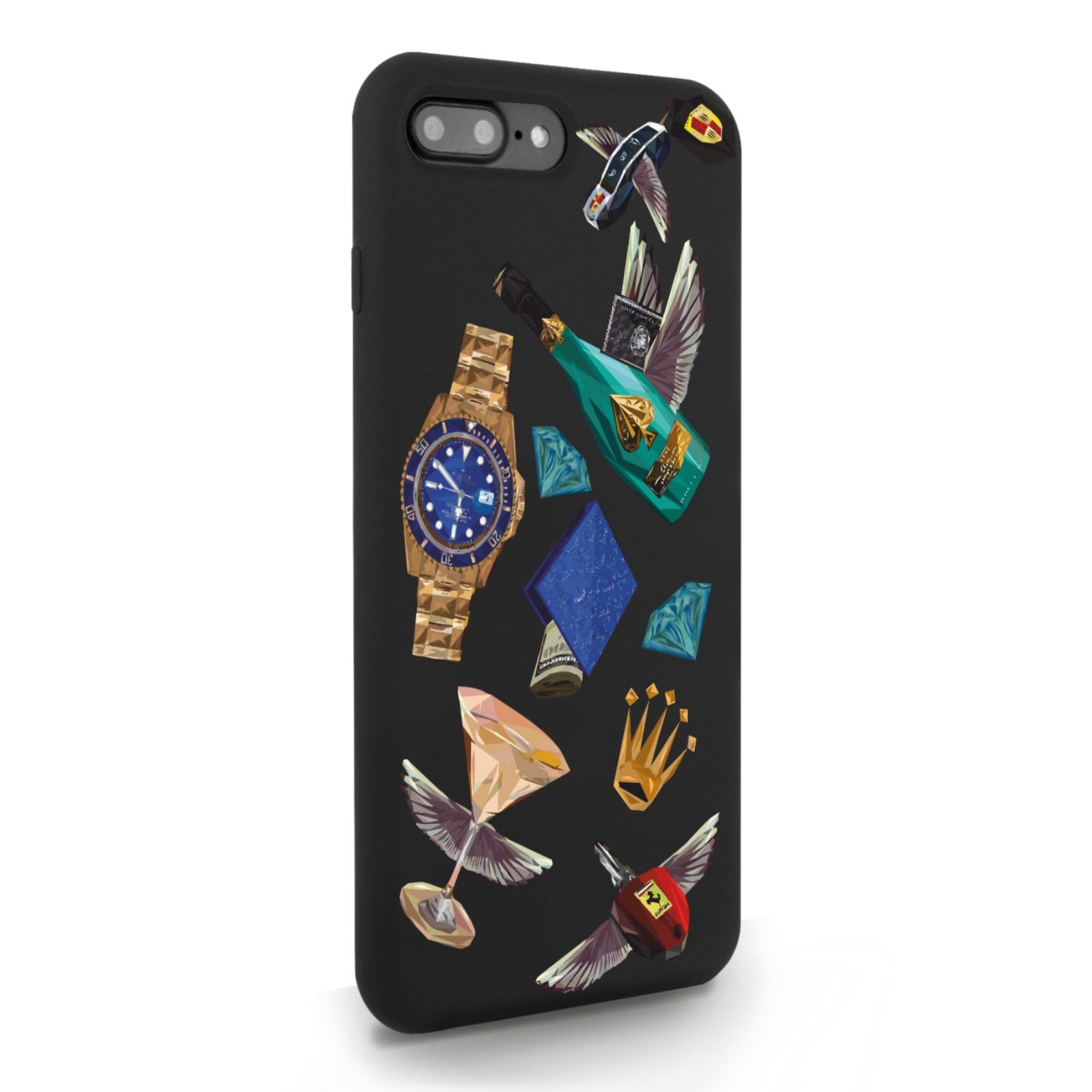Черный силиконовый чехол для iPhone 7/8 Plus Luxury lifestyle для Айфон 7/8 Плюс