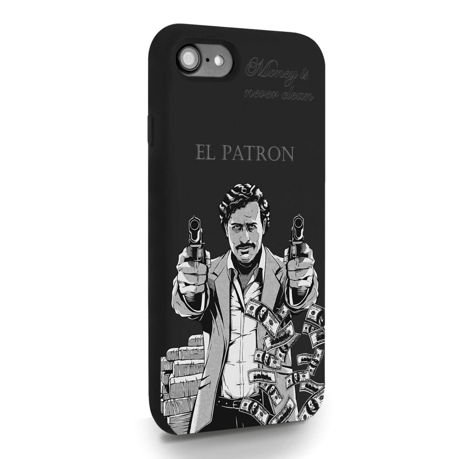 Черный силиконовый чехол для iPhone 7/8/SE2020 El Patron Pablo Escobar Пабло Эскобар для Айфон 7/8/СЕ2020