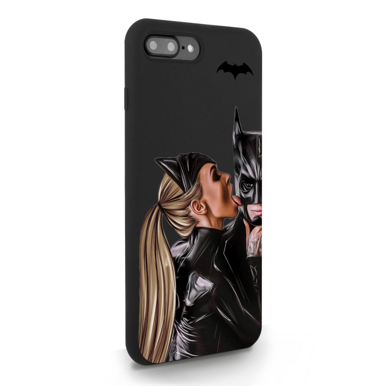 Черный силиконовый чехол для iPhone 7/8 Plus Cat Woman/ Женщина-кошка и бэтмен для Айфон 7/8 Плюс